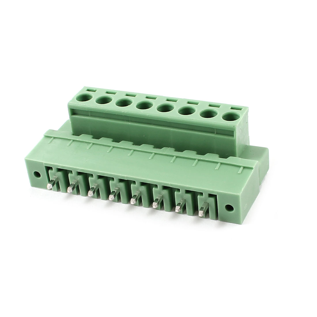 Pair AC 300V 10A 5.08mm 8 Pin Screw Pluggable Terminal Block Green
