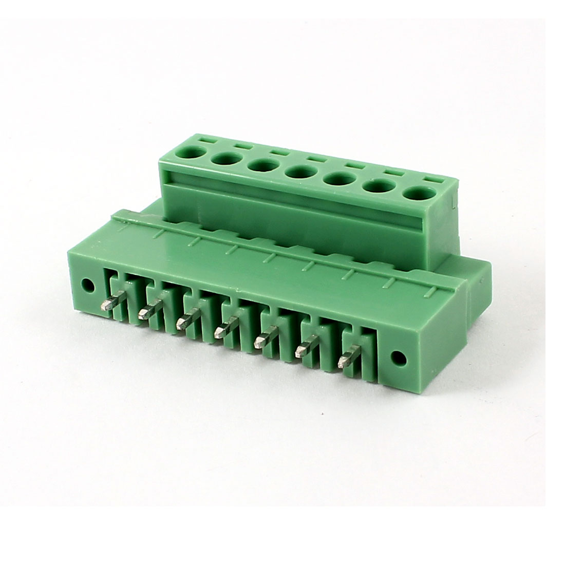 Pair 300V 10A 5.08mm Pitch 7 Pin PCB Screw Terminal Block Connector Green