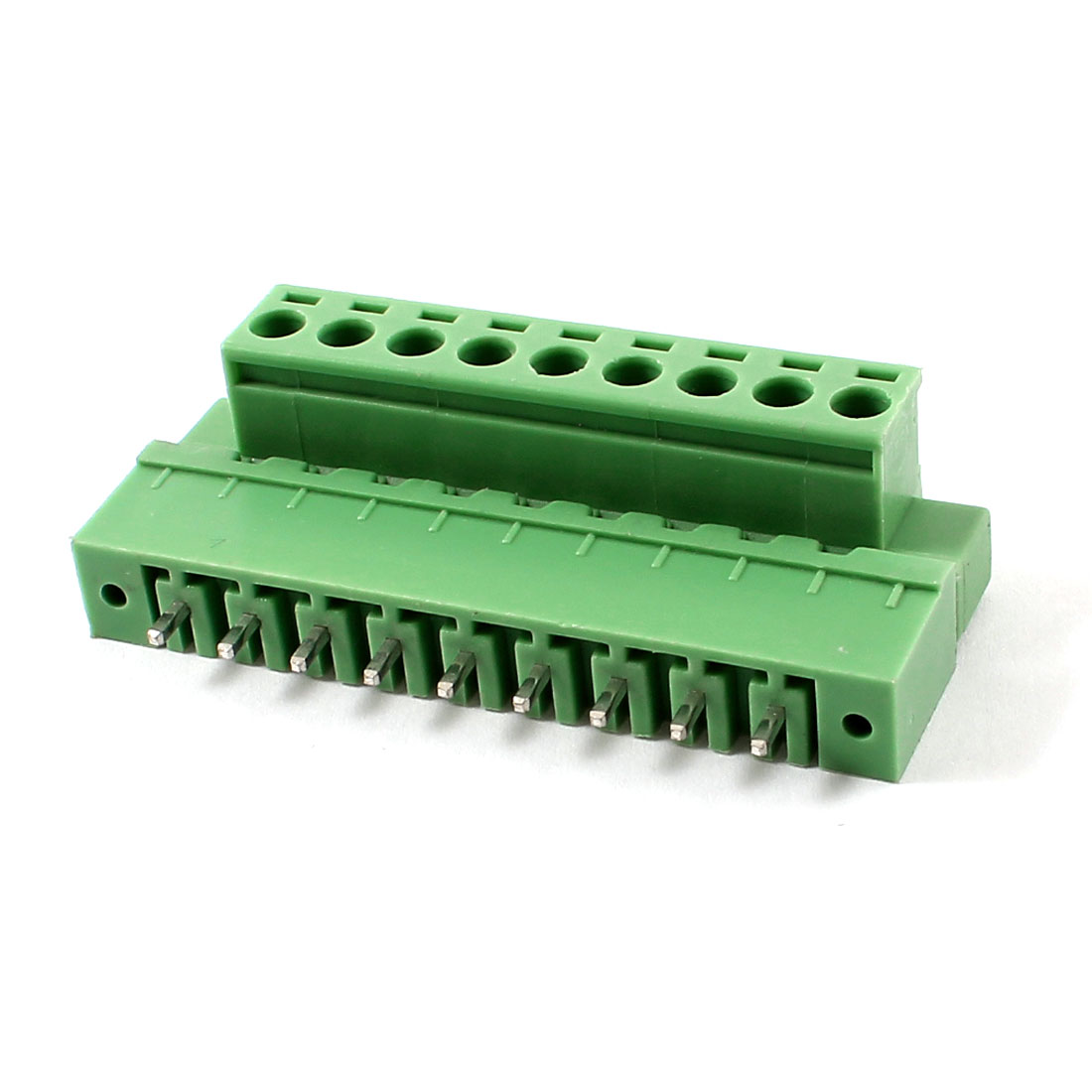 Pair 300V 10A 5.08mm Pitch 9 Pin Screw Plug In Terminal Block Green