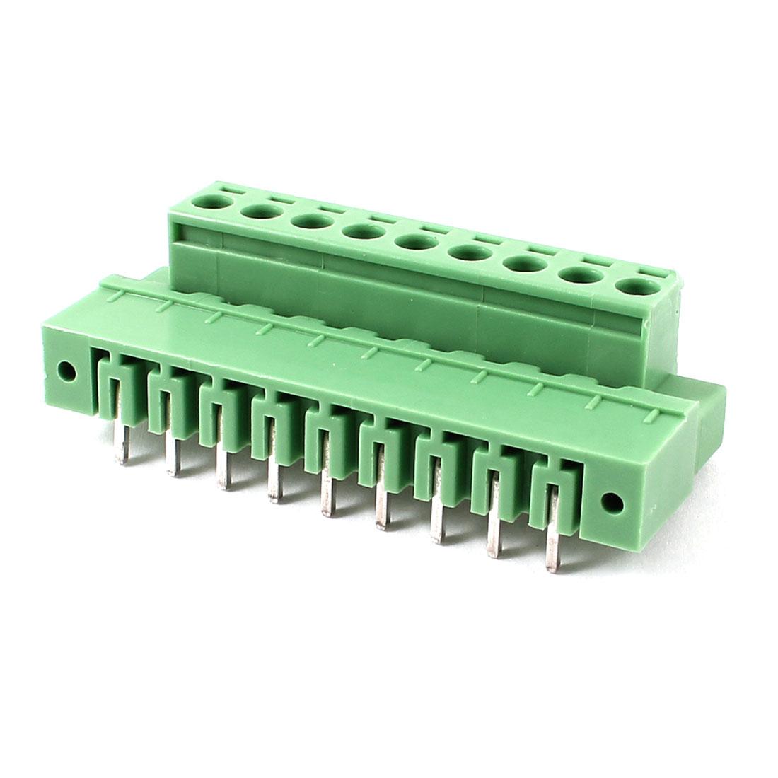 Pair AC 300V 10A 5.08mm Pitch 9 Pin Screw Pluggable Terminal Block