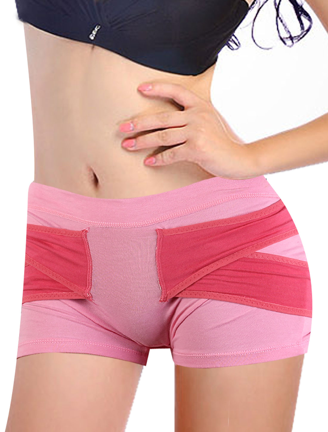 Ladies Fuchsia Pink Stretch Sleeping Beauty Panties Shorts Hip Shaper Enhancer L