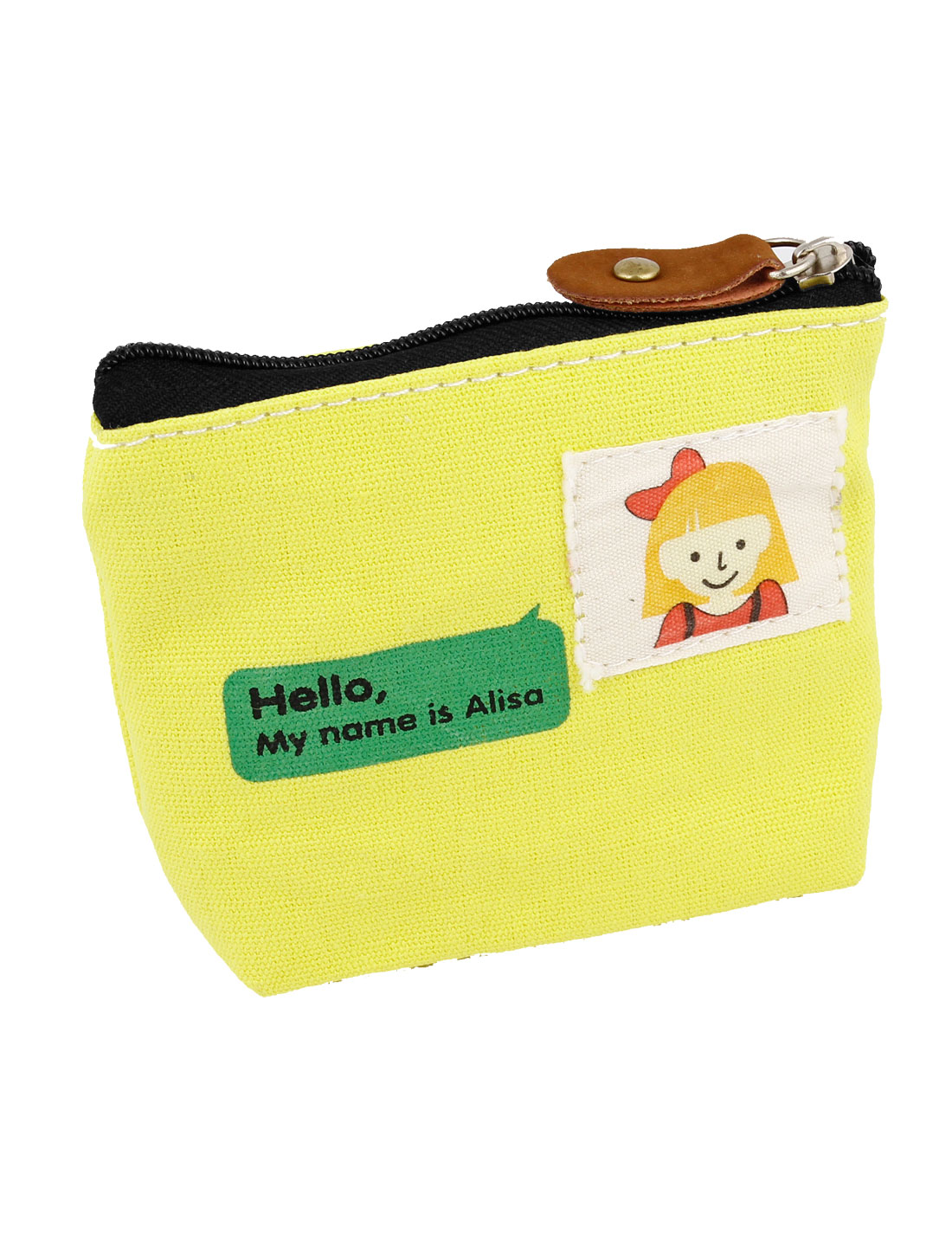 Letters Pattern Single Compartment Coin Keys Wallet Purse Yellow