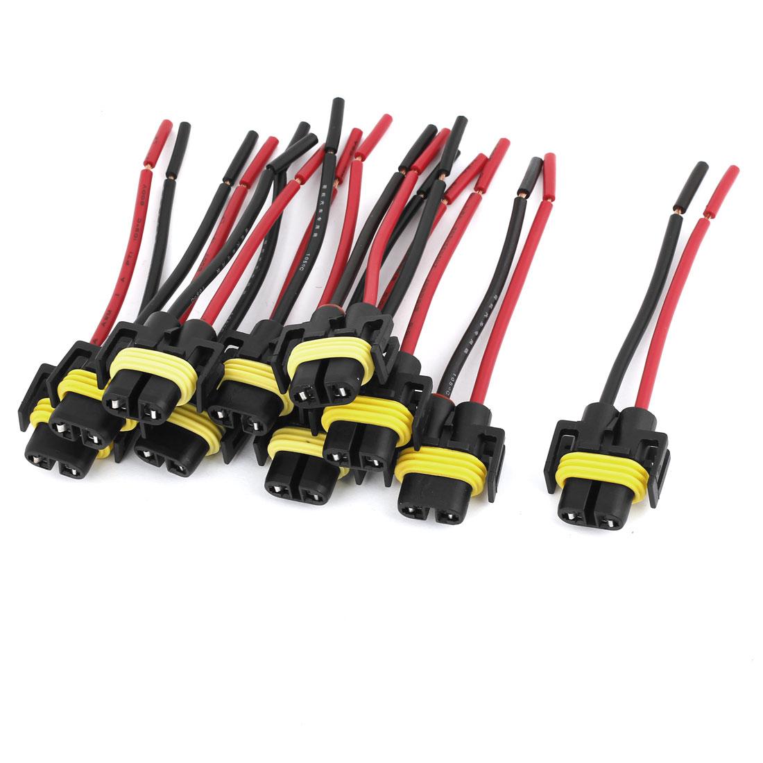 10 Pcs Auto Car Headlight H11 Socket Harness Plastic Connector Base Plug