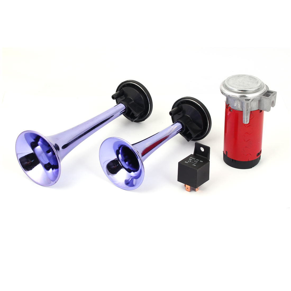 2 in 1 12V Blue Metal Twin Tone Air Horn Dual Trumpet Kit w Compressor