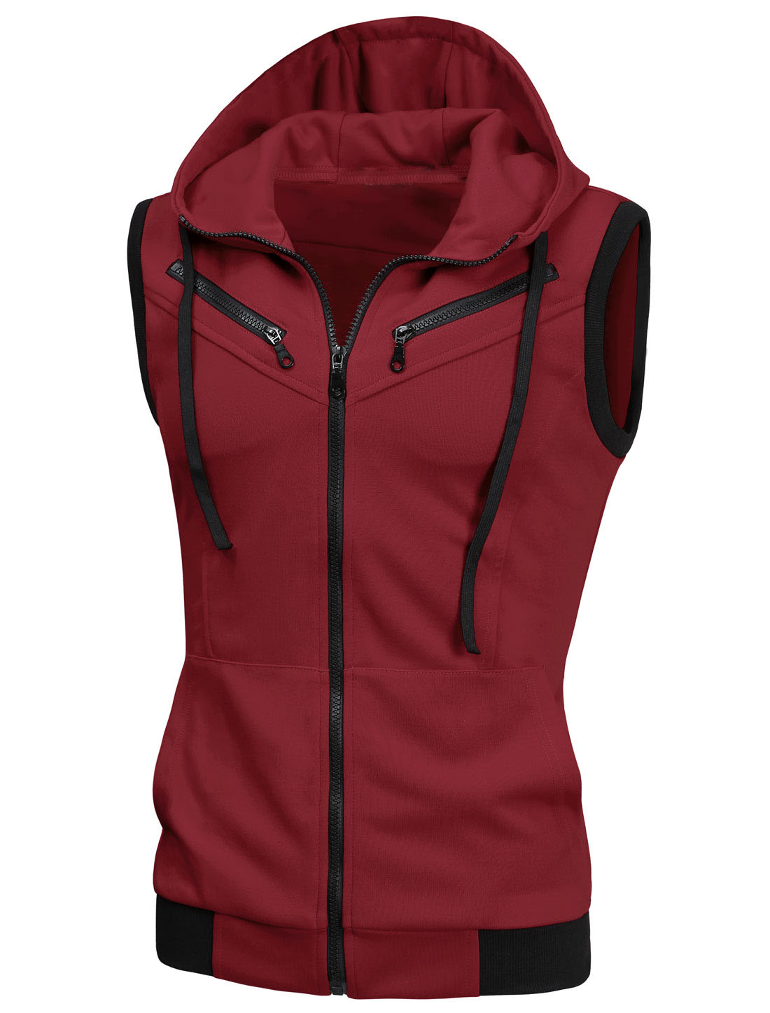 Men Zip Up Two Pockets Front Drawstring Hooded Vest Burgundy S