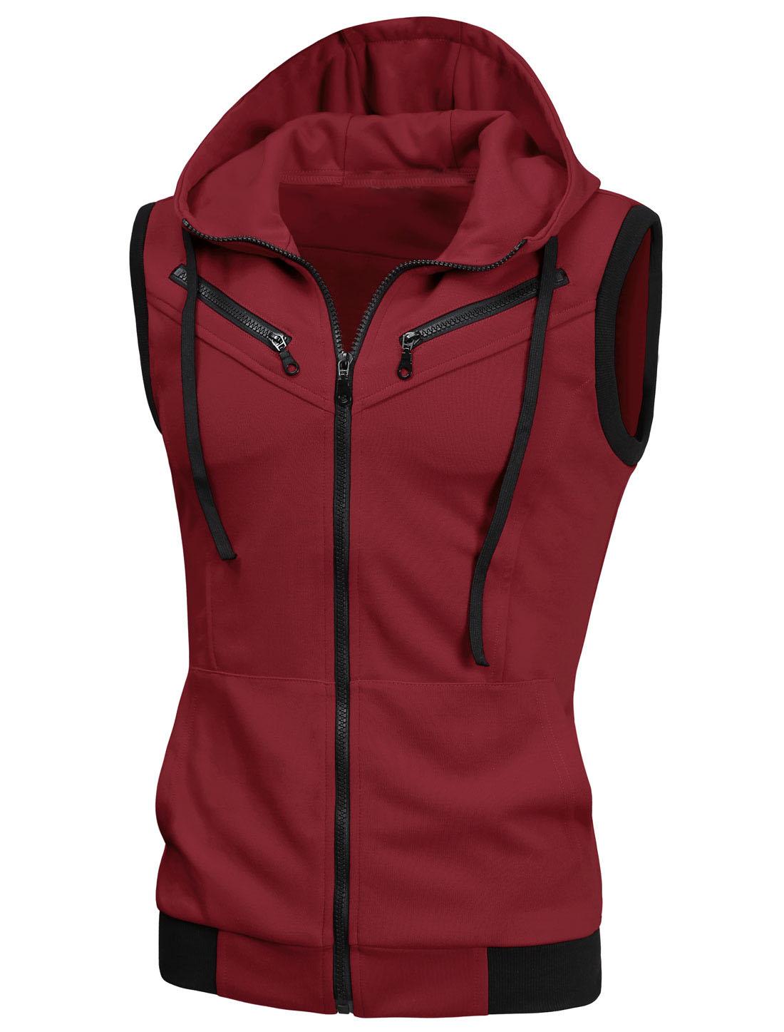 Full Zipper Double Pockets Front Hooded Vest for Men Burgundy S