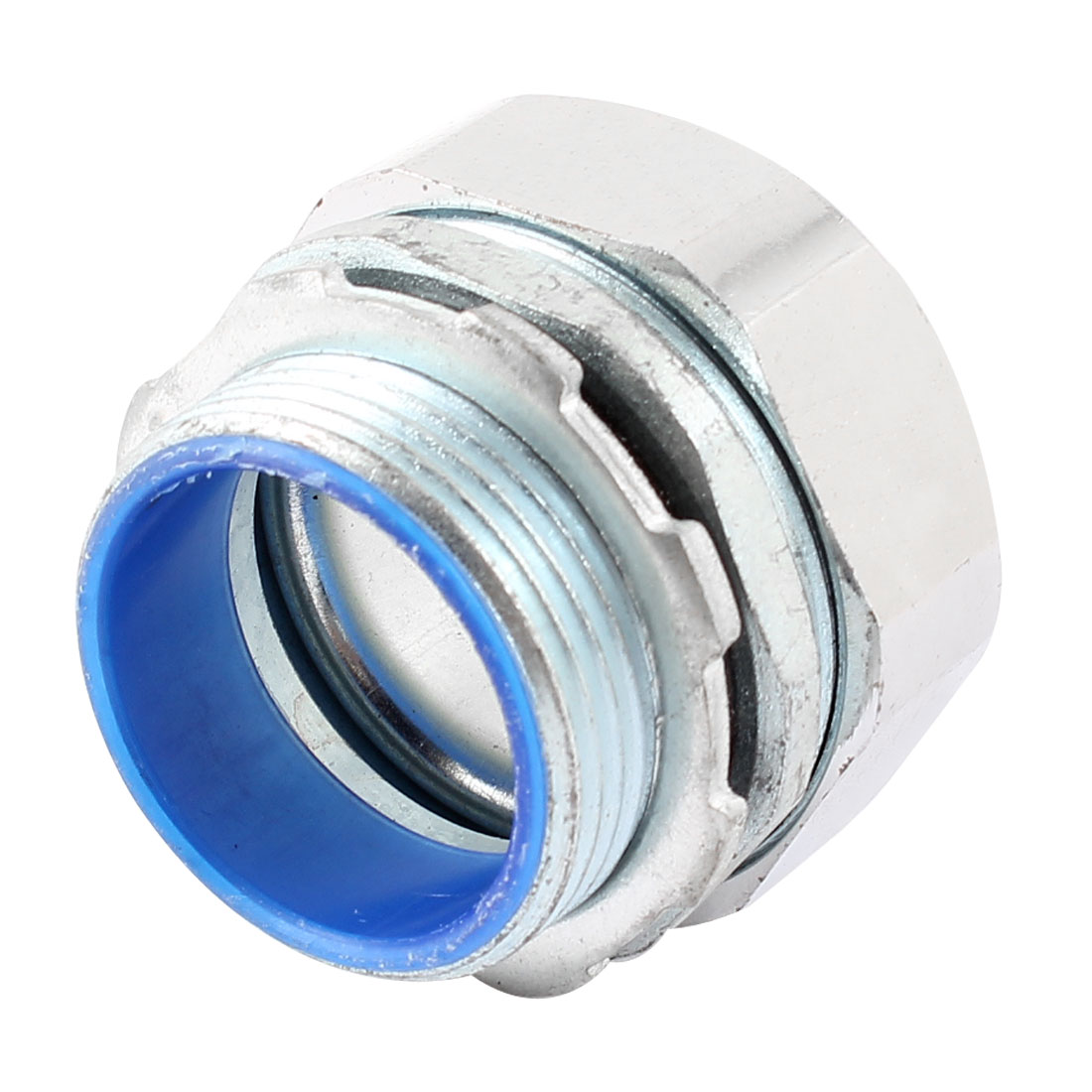 Silver Tone Metal 1 1/4 PT Male Thread Flexible Liquid Tight Connector