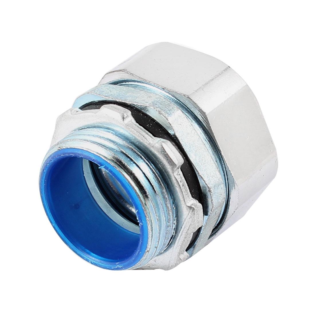 Silver Tone Metal 1 PT Male Thread Flexible Liquid Tight Connector