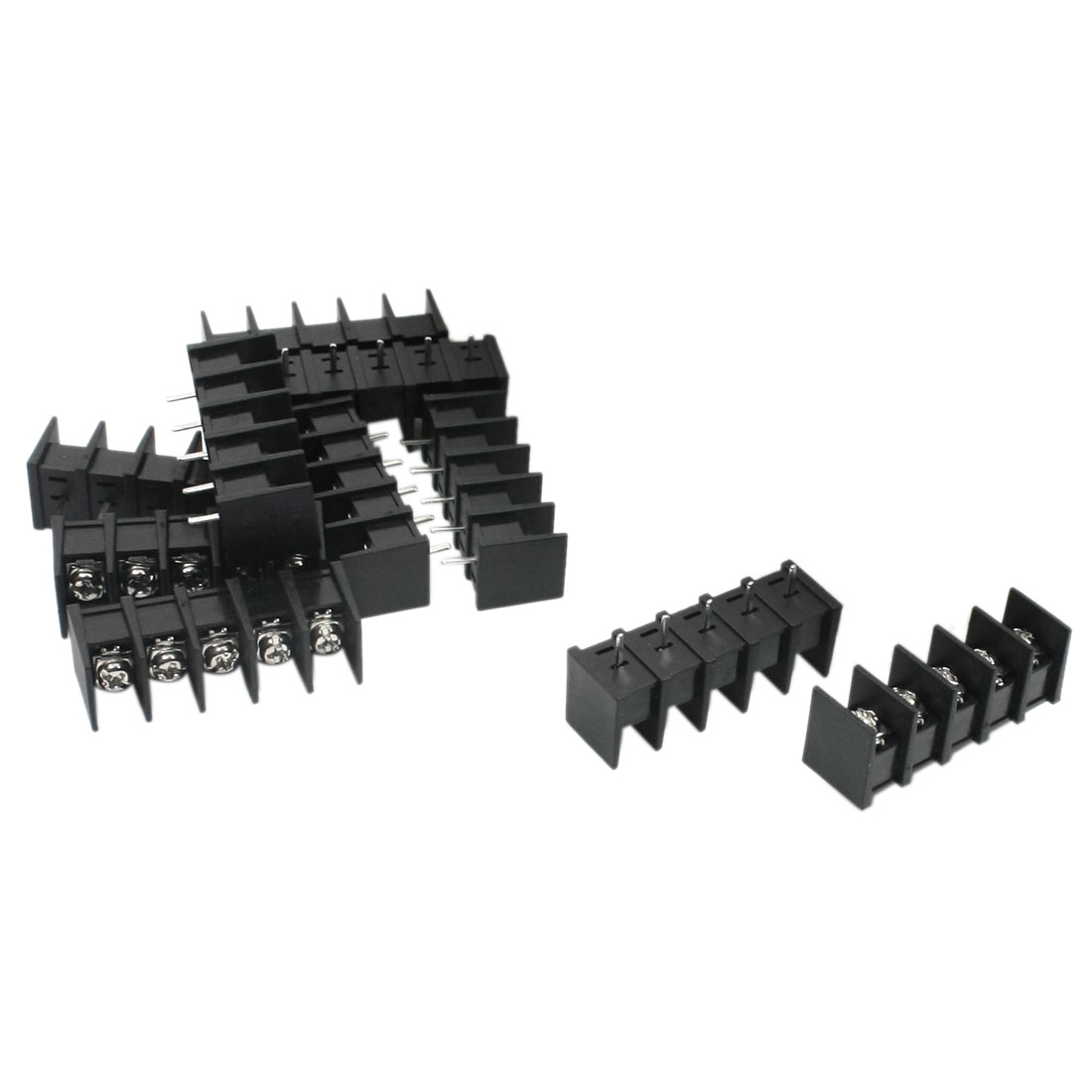 10pcs 300V 20A 5 Position Single Row Barrier Screw Terminal Block Strip