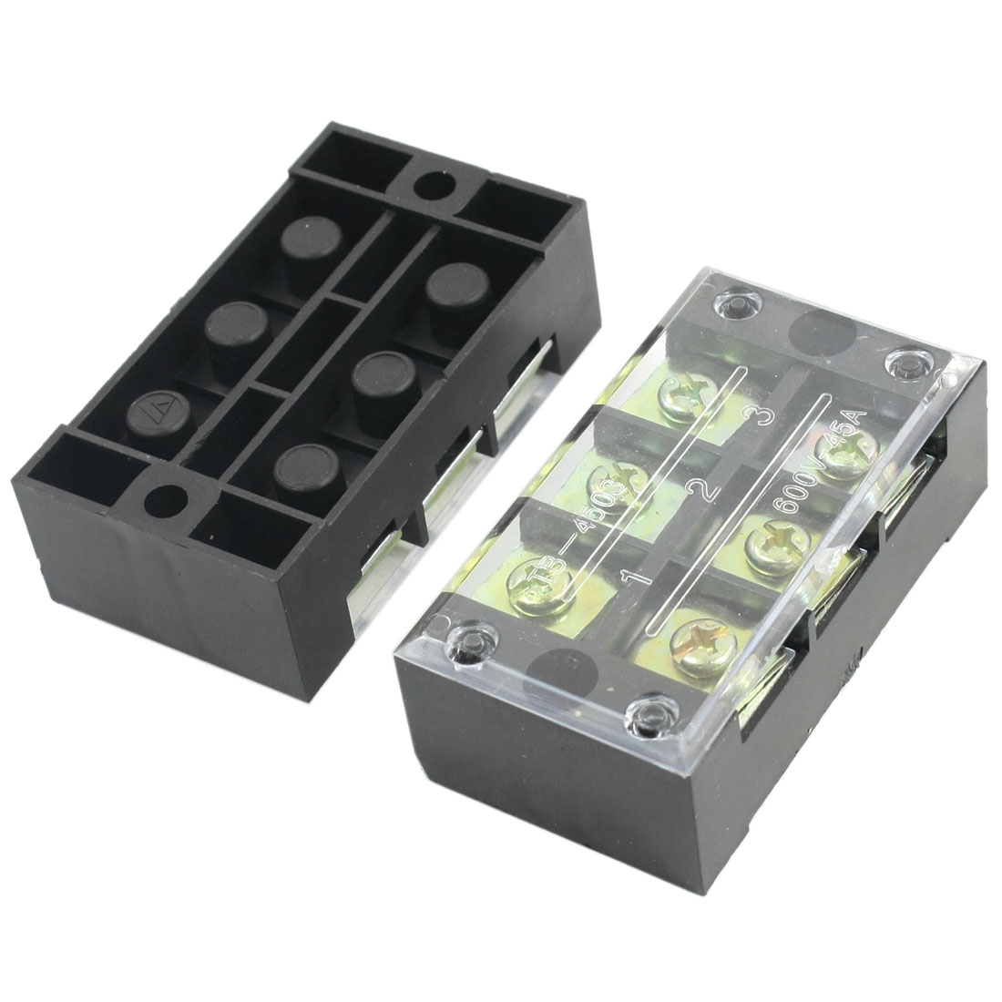 2Pcs 600V 45A Dual 3 Position Barrier Screw Terminal Block Wire Strip