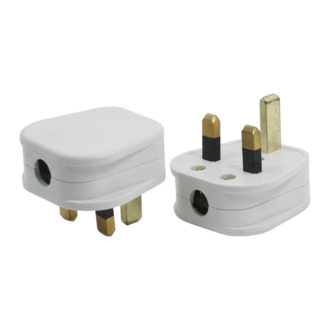 AC 250V 13A UK Plug Plastic Adapter Connector White 2pcs for 10mm Cord Cable