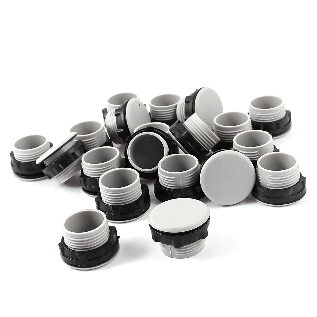 21mm Pilot Lamp Push In Type Button Switch Hole Cover Gray Black 20pcs