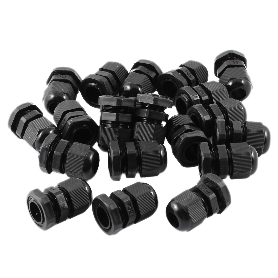 20 Pcs PG9 Black Plastic Glands Connectors for 4mm to 8mm Cable