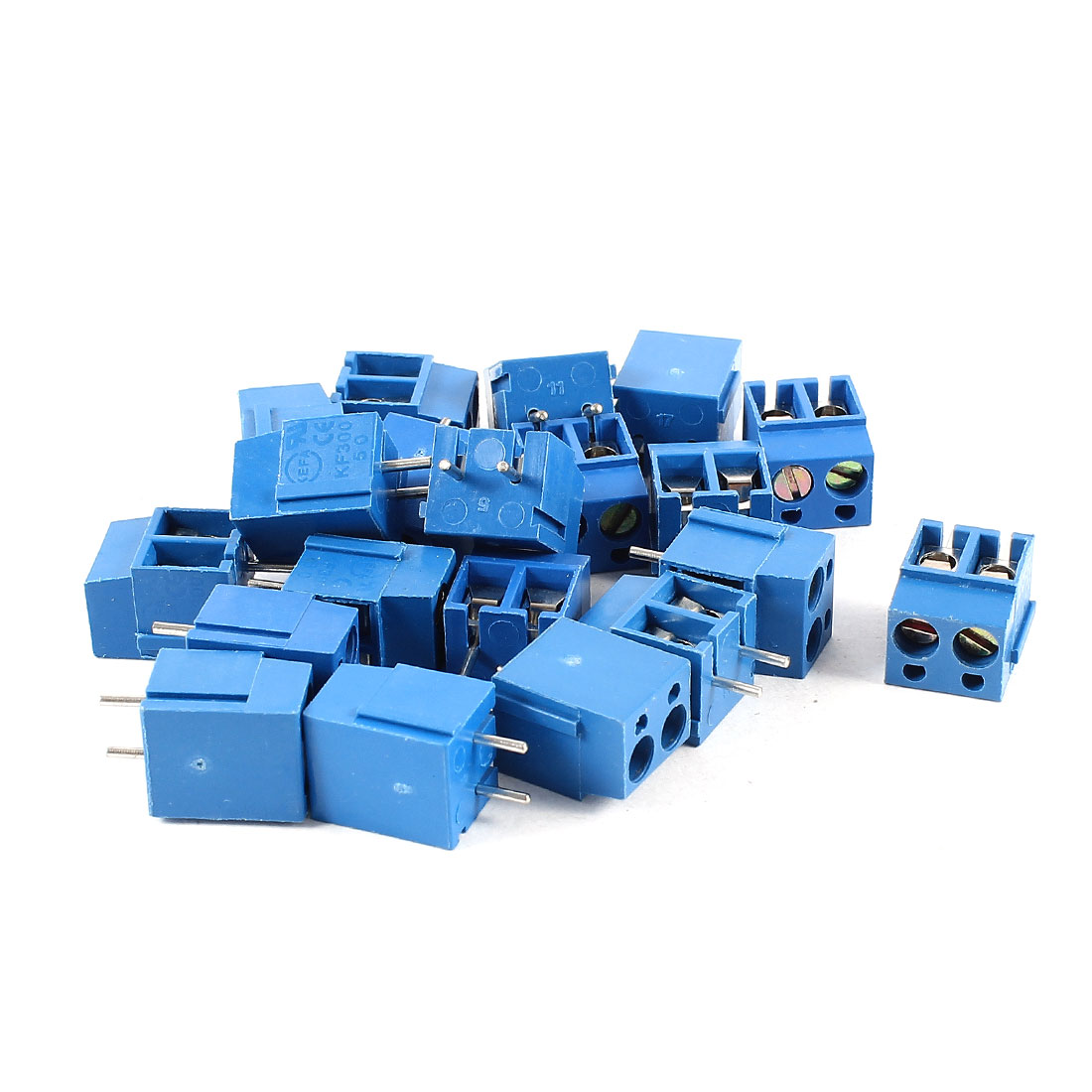 20 Pcs 2 Terminal 5mm Pitch PCB Screw Terminal Block Connector 300V 16A AWG14-22 Blue
