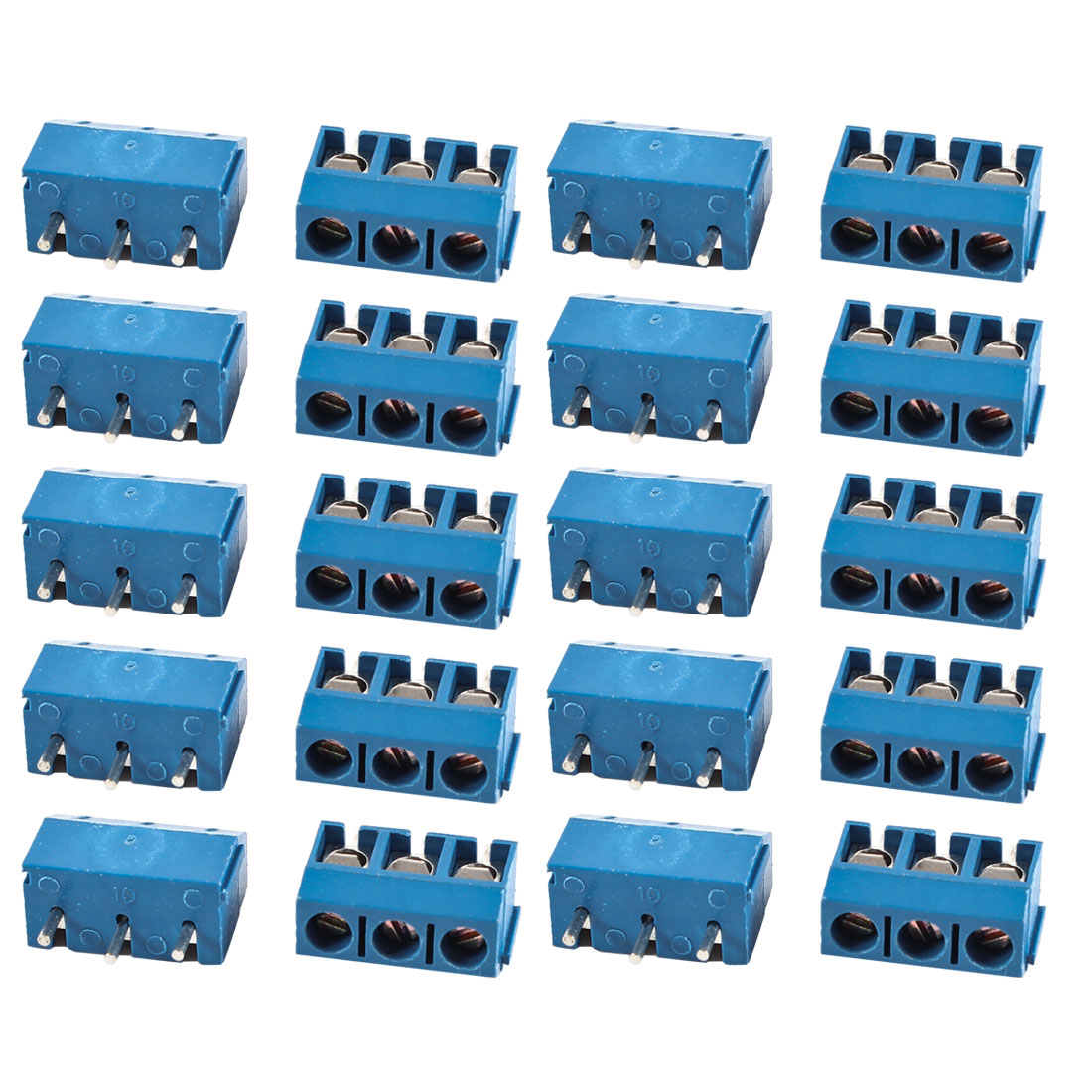 20 Pcs Blue KF301-3P 3 Position 5mm Pitch PCB Mount Screw Terminal Block Connectors 300V 16A