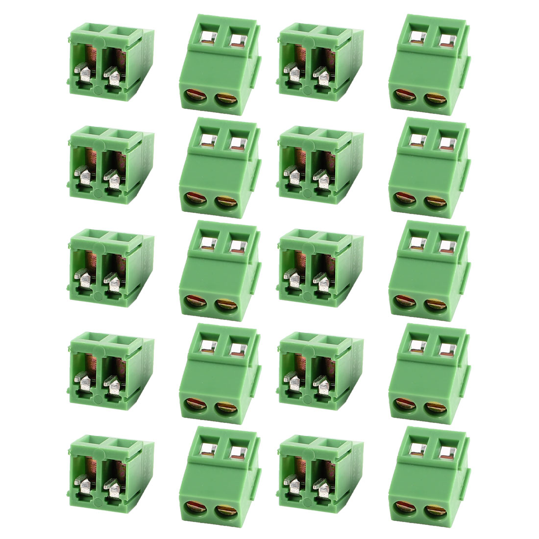 20 Pcs Green 2 Pole 5mm Spacing PCB Mount Screw Terminal Block 10A 300V AWG24-12