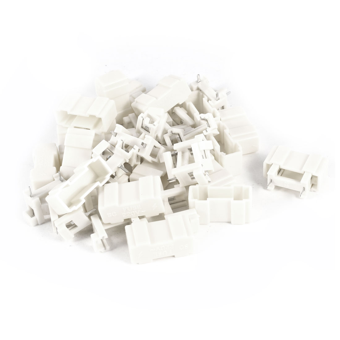 20 Pcs Off White Plastic 2Pins PCB Mount Fuse Holder 220V for 5x20mm Fuse