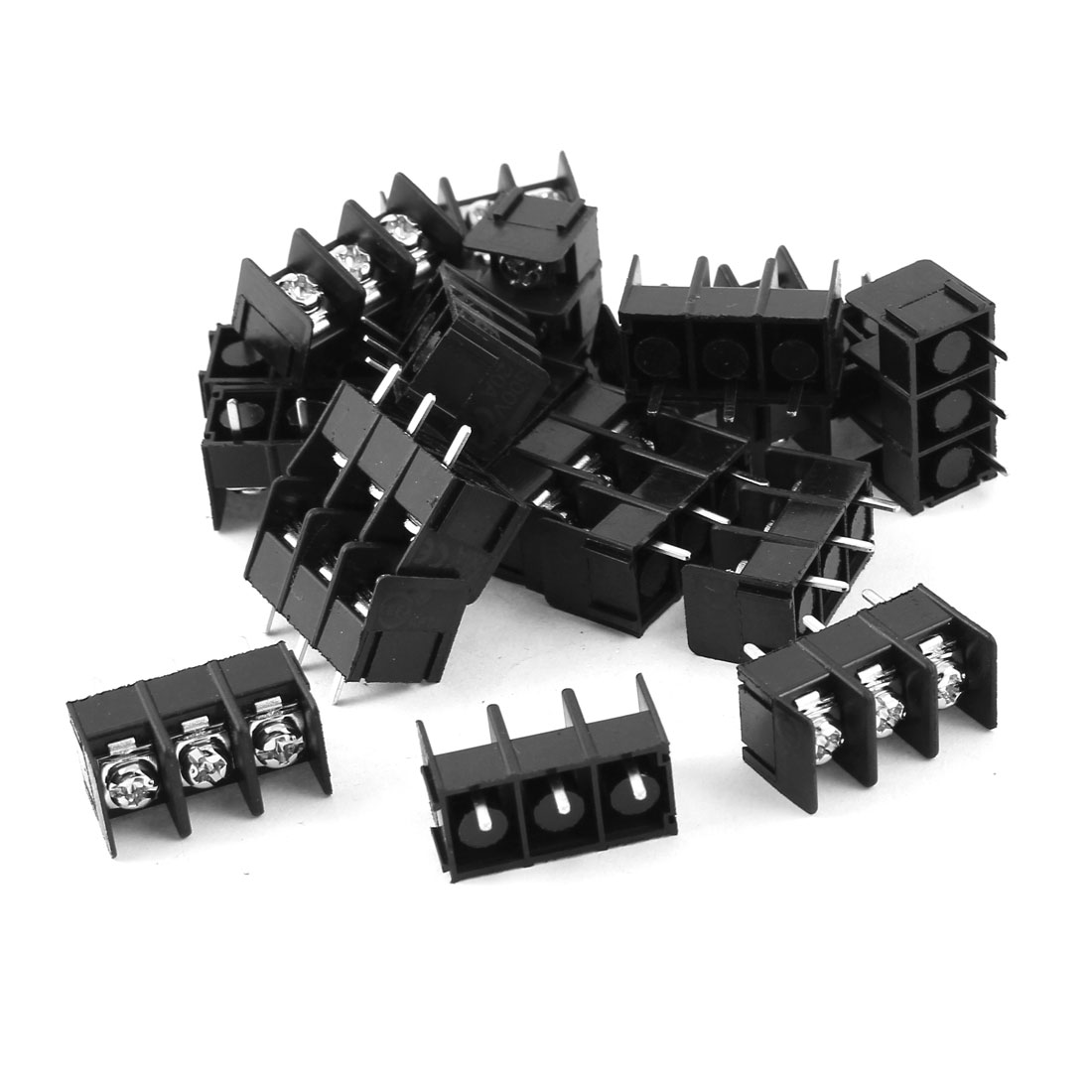 20 Pieces 3 Positions 3 Screw Terminal Barrier Block Black 300V 20A