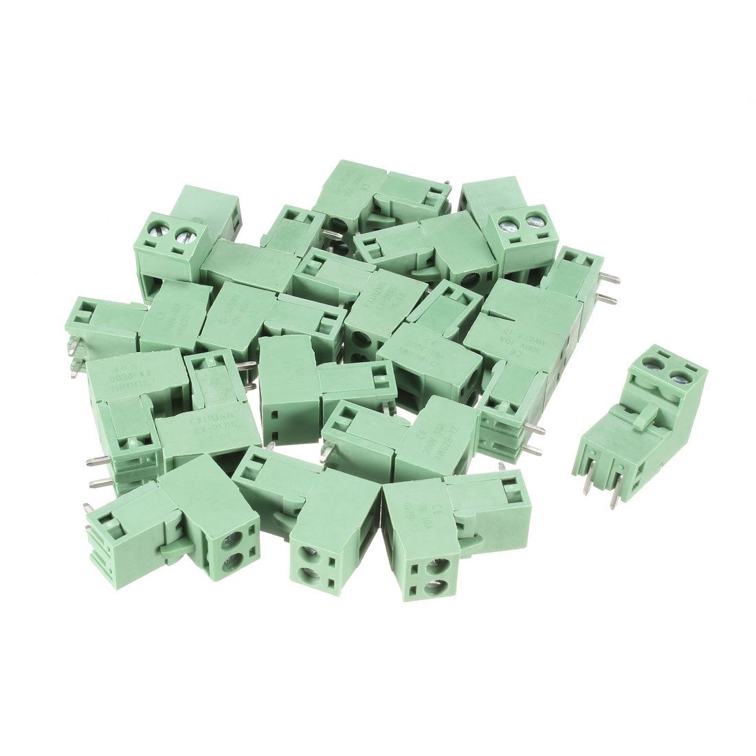 20 Pcs Green HT5.08 HT508K 5.08mm 2Position Right Angle 2Pin Pluggable Screw Terminal Block Connector 300V 10A