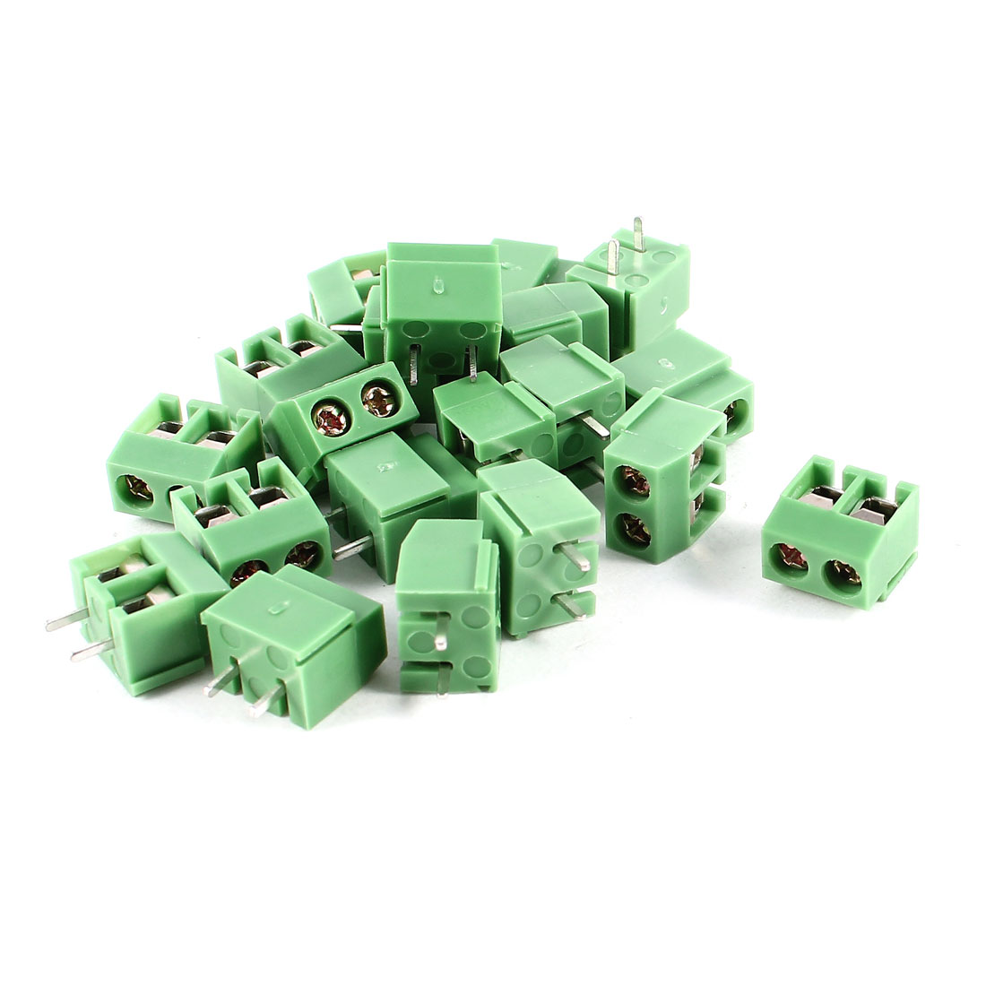 20 Pcs 2P 5mm Spacing PCB Mount Screw Terminal Block Connector 250V 8A AWG14-26