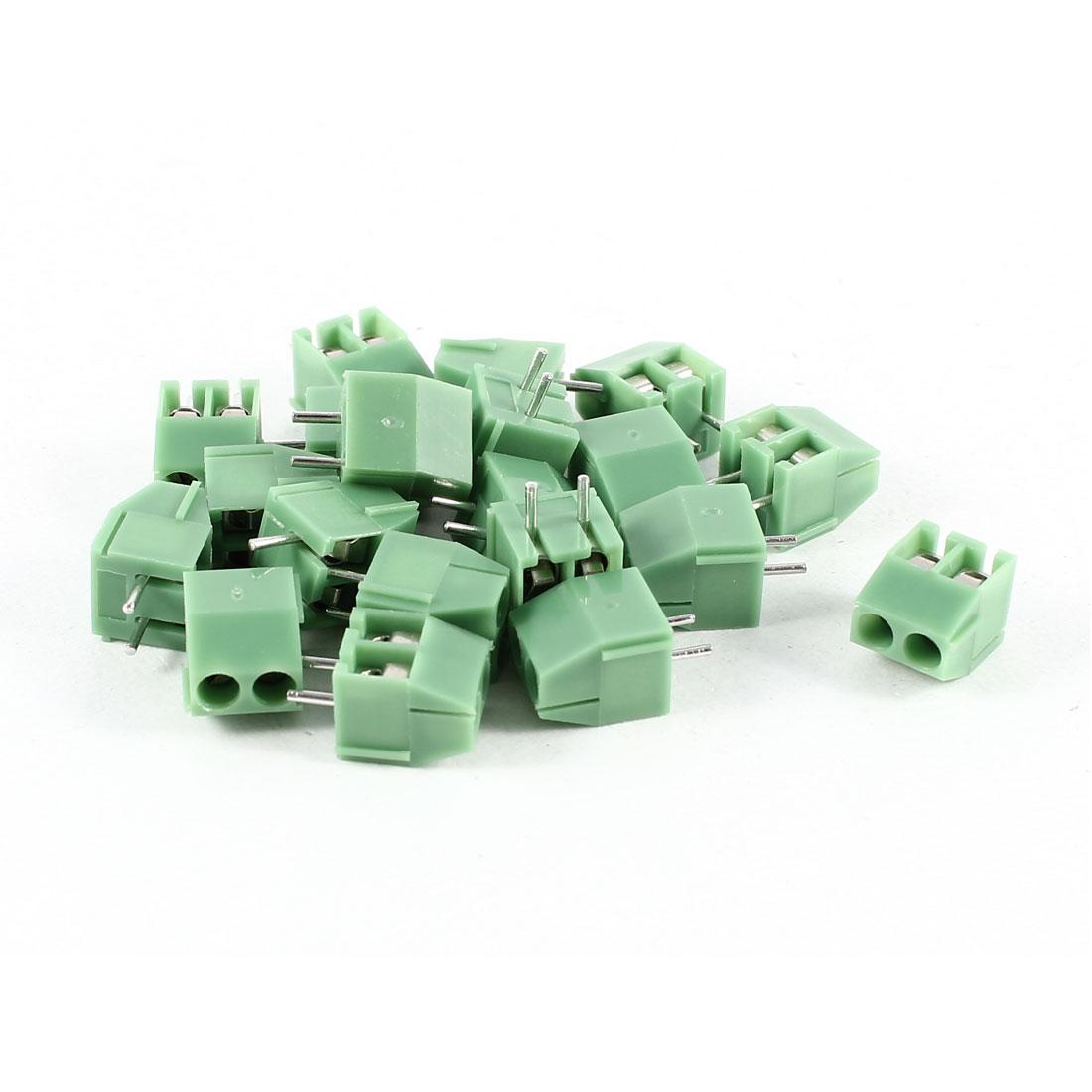20 Pcs Green KF350-2P 2 Position 3.5mm Pitch PCB Mount Screw Terminal Block Connectors 300V 10A