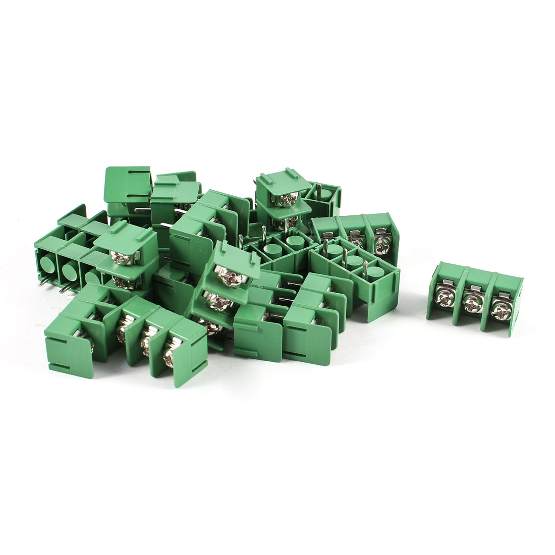 20 Pcs Green KF7.62-3P 3 Position 3Pin PCB Mount 7.62mm Pitch Screw Terminal Barrier Blocks 300V 20A