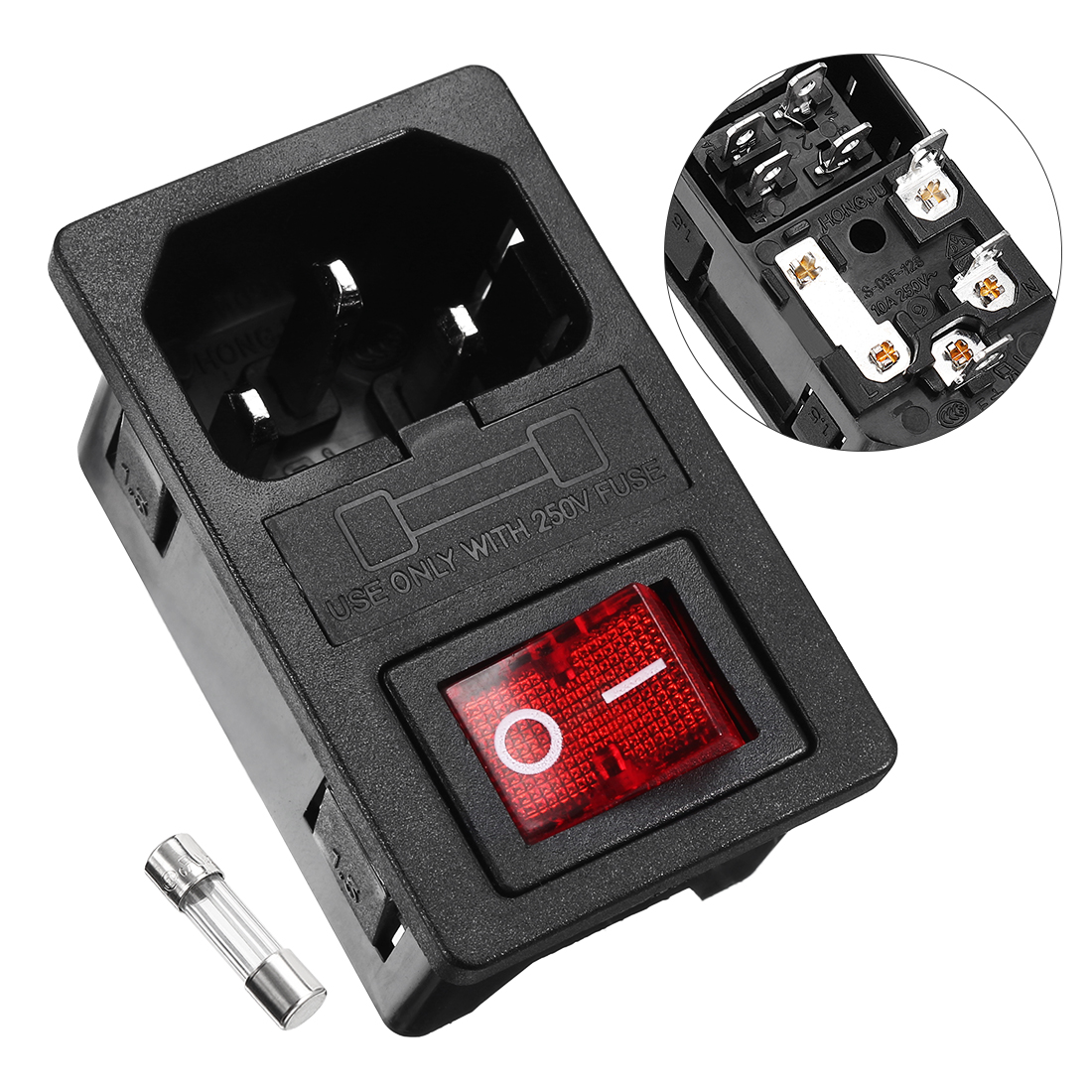 Indicator KCD1-104 DPST ON/OFF Rocker Switch 250V 10A w Fuse Holder w IEC320 C14 Power Inlet