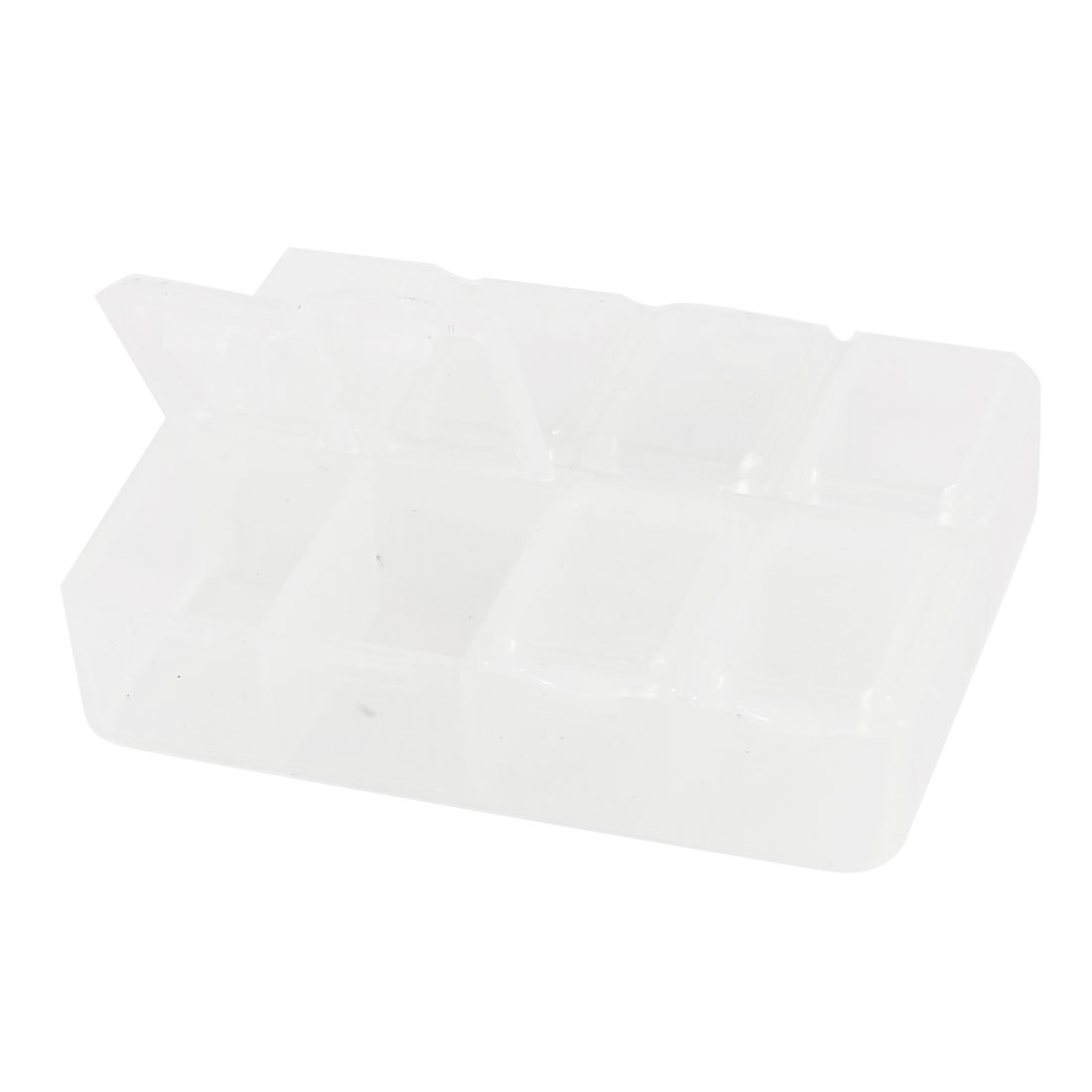 Rectangular Plastic 8 Slots Component Storage Case Box Container Clear White
