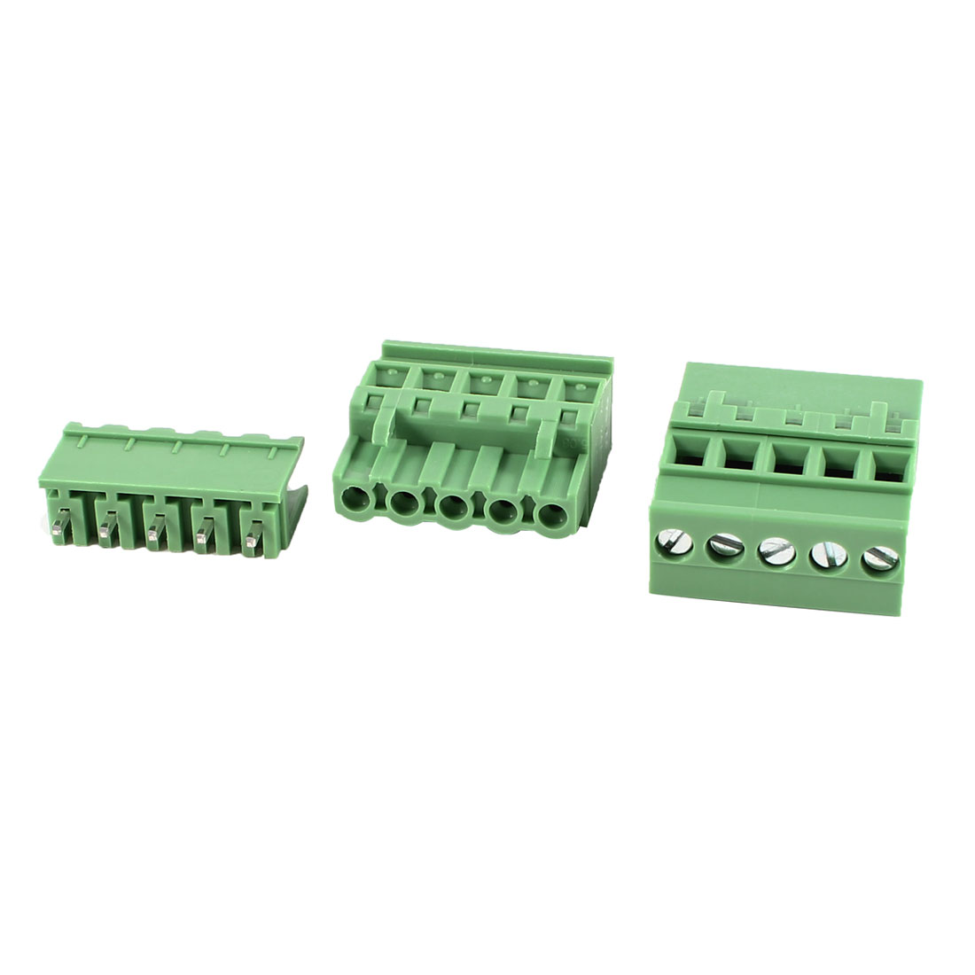 2Pcs Green KF2EDGKA 5.08mm 5Position Screw Pluggable Terminal Block Connector 300V 10A