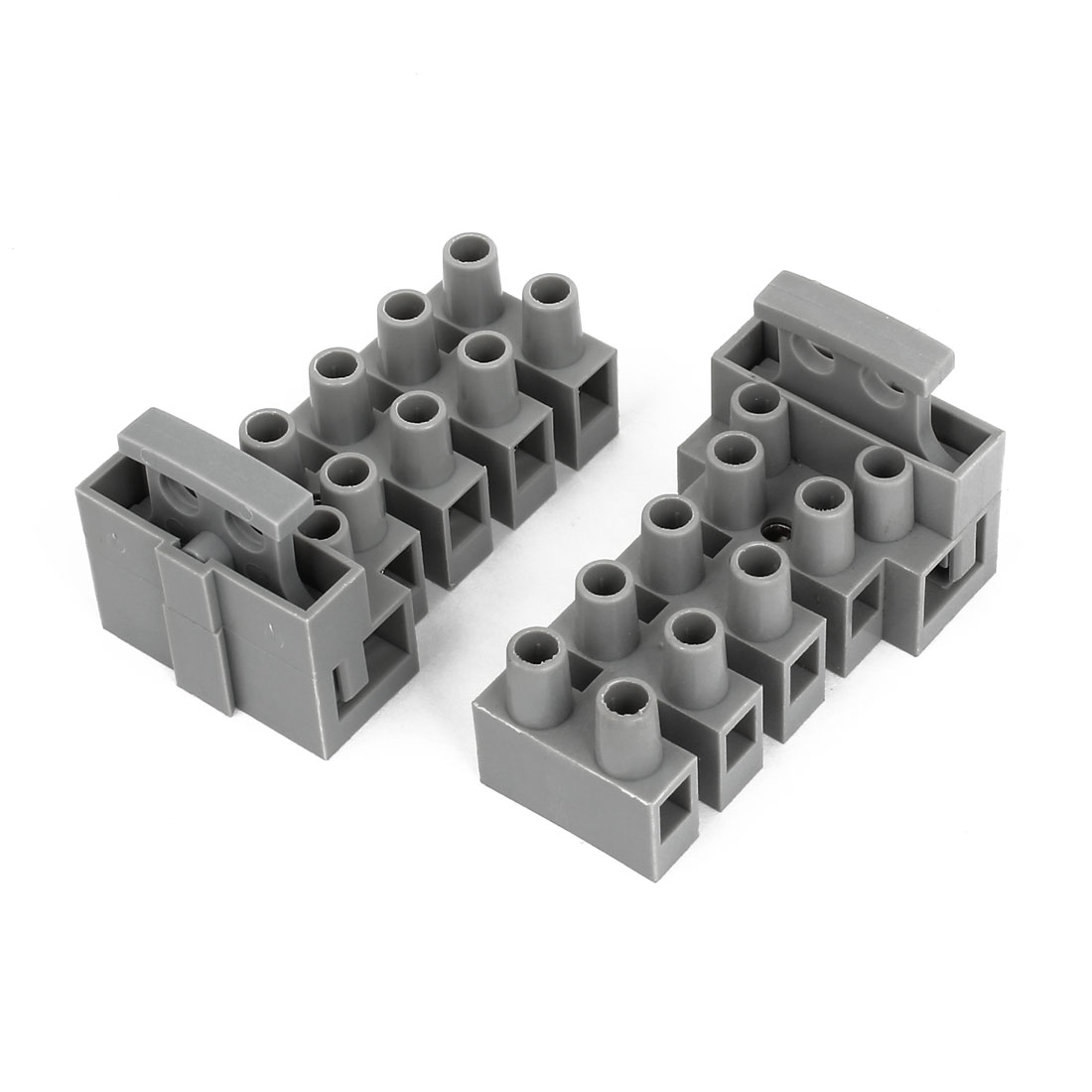 2pcs 450V 10A 2 Rows 5 Position Terminal Block Barrier Strip Cable Connector w Fuse Holder
