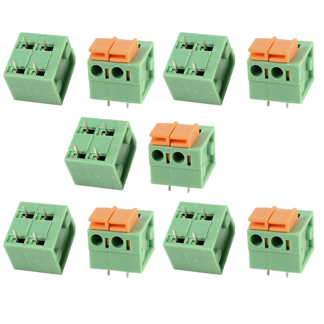 10 Pcs Green KF142R 2Position 5.08mm Pitch 4Pin Spring Terminal Blocks Connectors 300V 10A