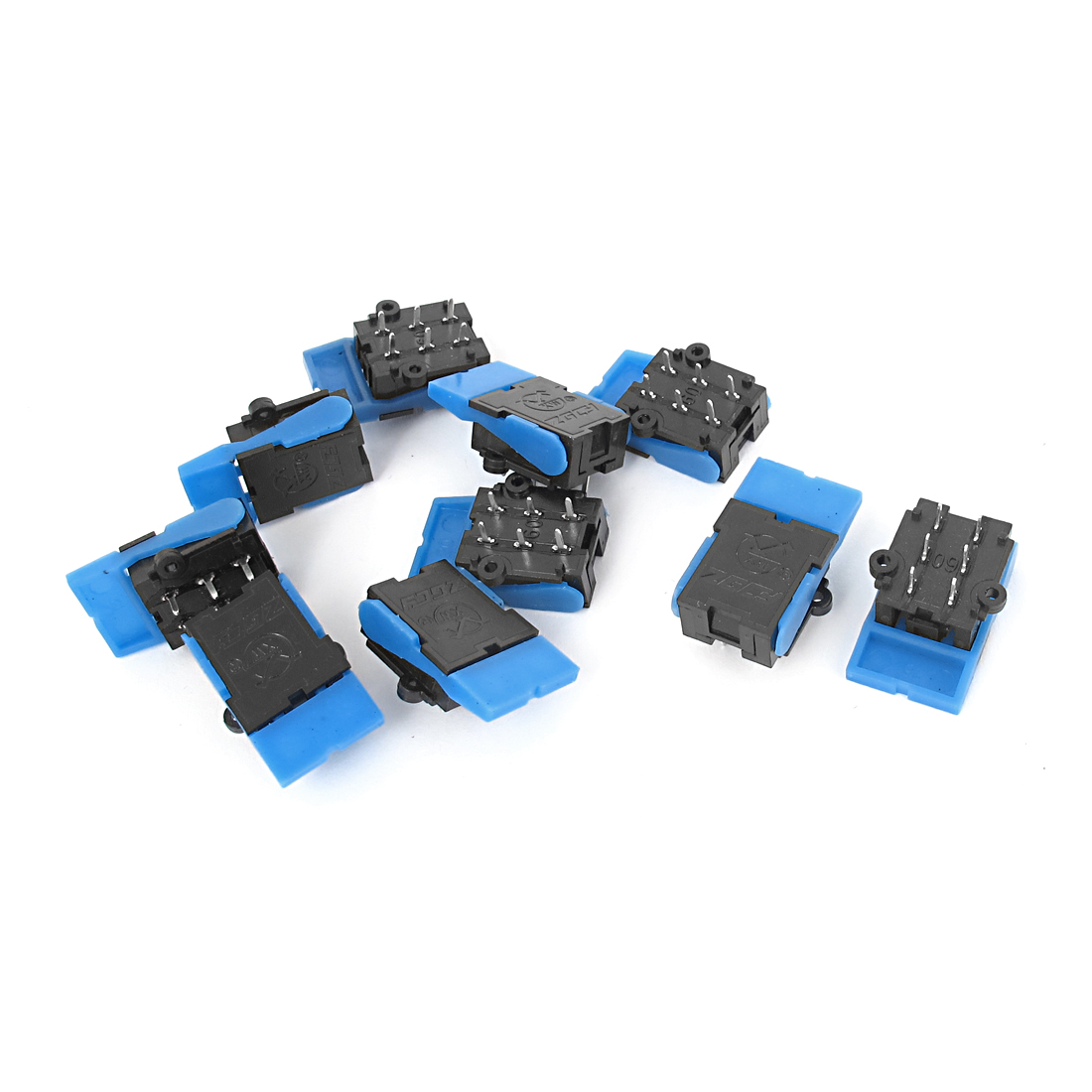 10 Pcs 6 Pin PCB Mount Telephone Silence Hook Switch Black Blue