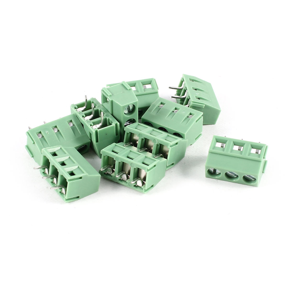 10 Pcs Green KF127-3P 3 Position 5mm Pitch PCB Mount Screw Terminal Block Connectors 300V 10A KF128R