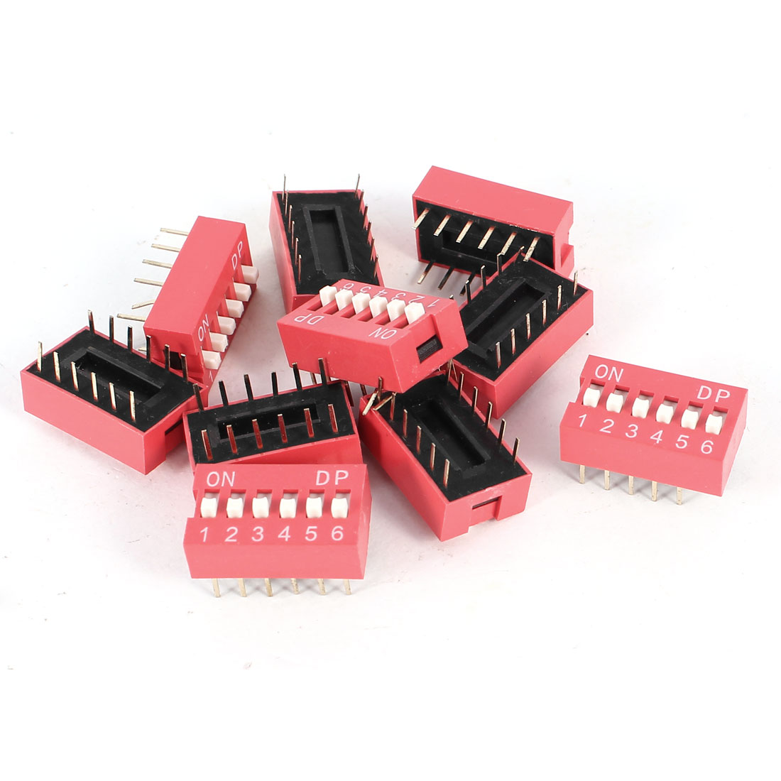10 Pcs Red 2.54mm Pitch 12Pins 6 Positions Ways PCB Mount Slide Type DIP Switch