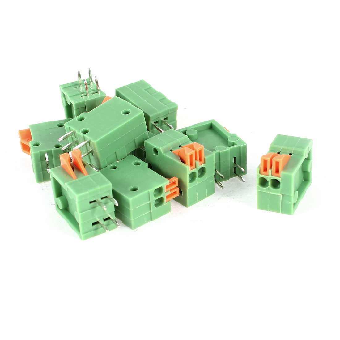 10 Pcs Straight 2 Pin 2.54mm Pitch Spacing PCB Mount Type Spring Terminal Blocks Connectors AC 150V 2A