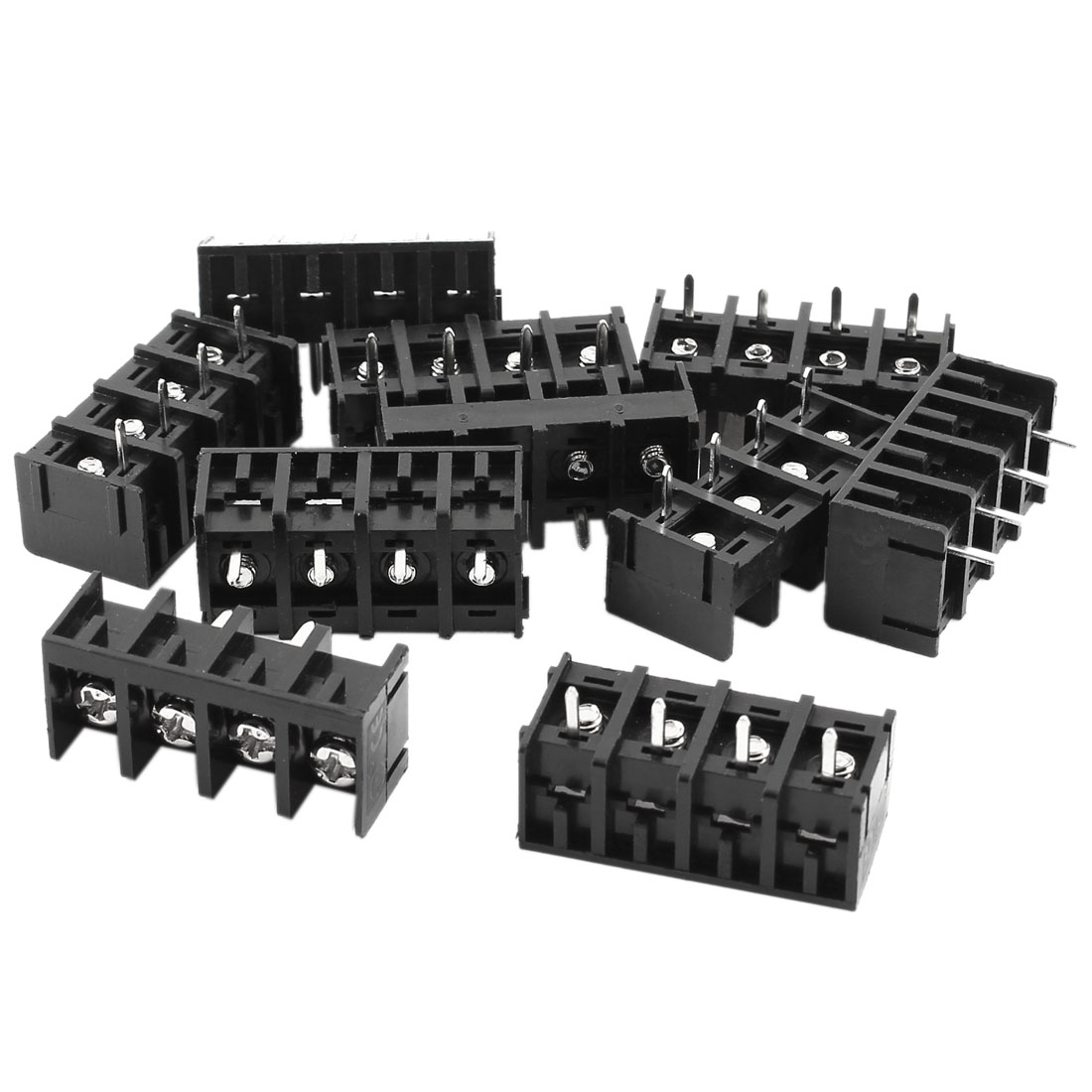 10 Pcs 300V 30A 9.5mm Pitch 4 Screw Terminal Barrier Block Black