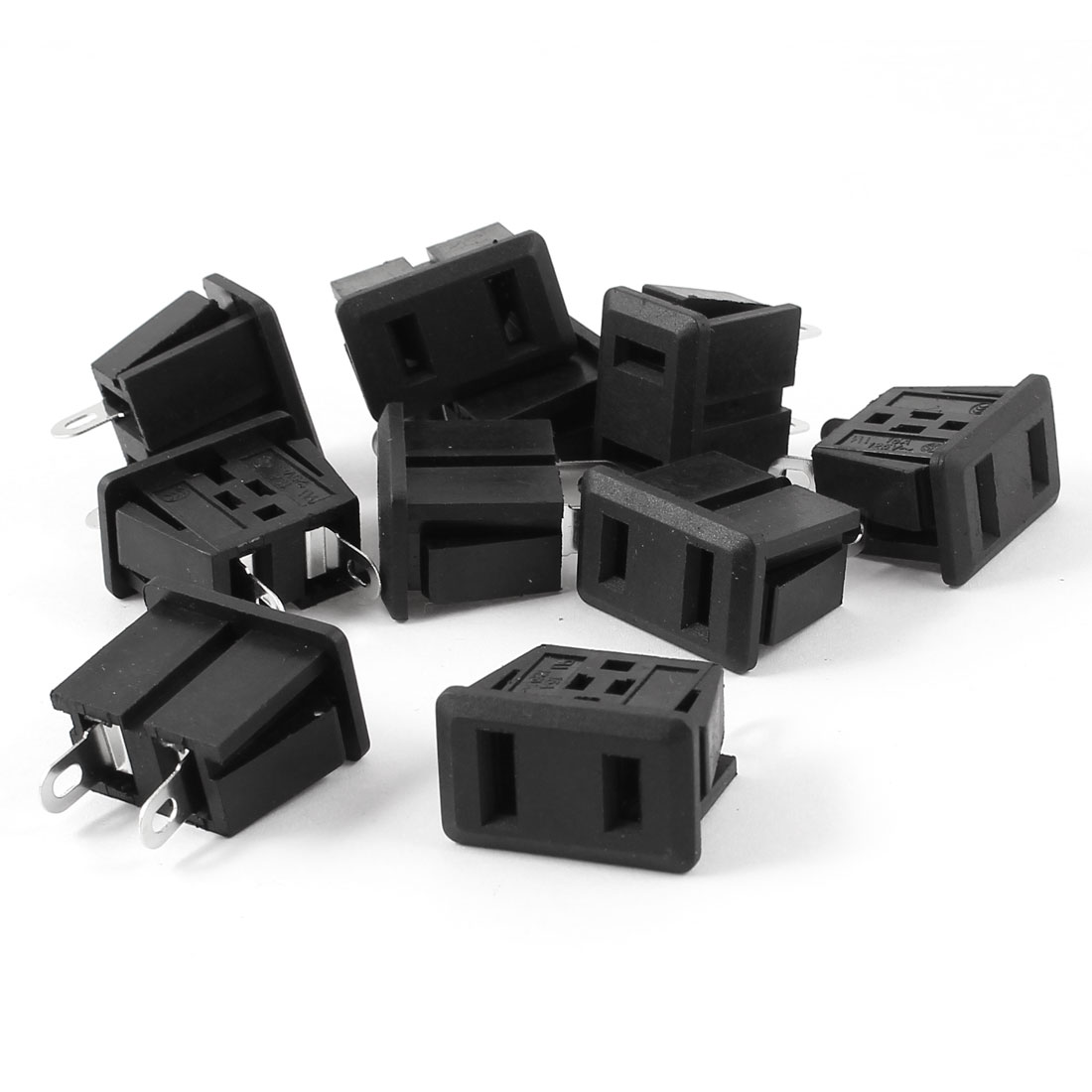 10pcs Rectangle 2 Terminals Power Adapter Socket Flash Panel Mounted Black AC 125V 15A US