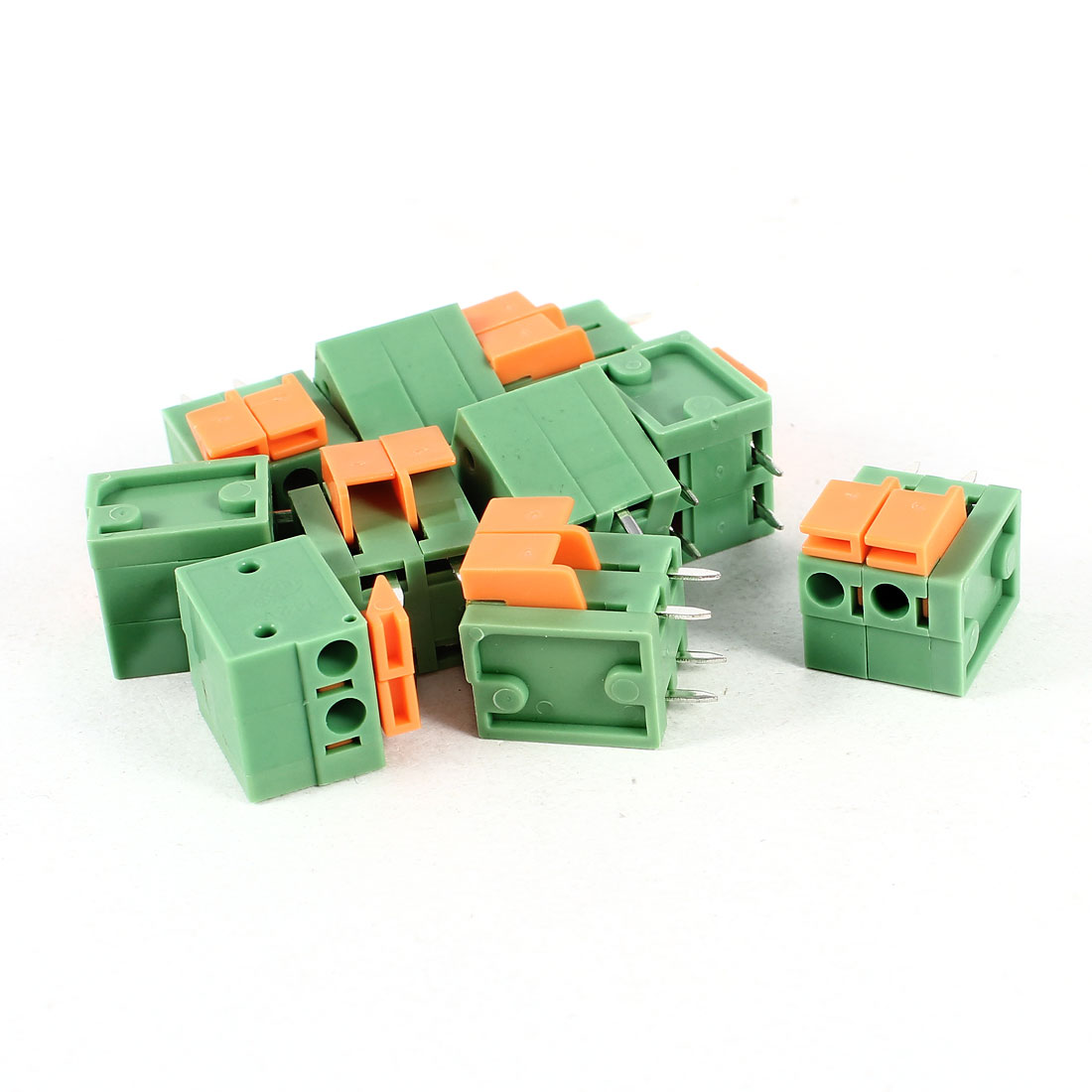 10 Pcs Green KF142V 2Position 5.08mm Pitch 4Pin Spring Terminal Blocks Connectors 250V 10A