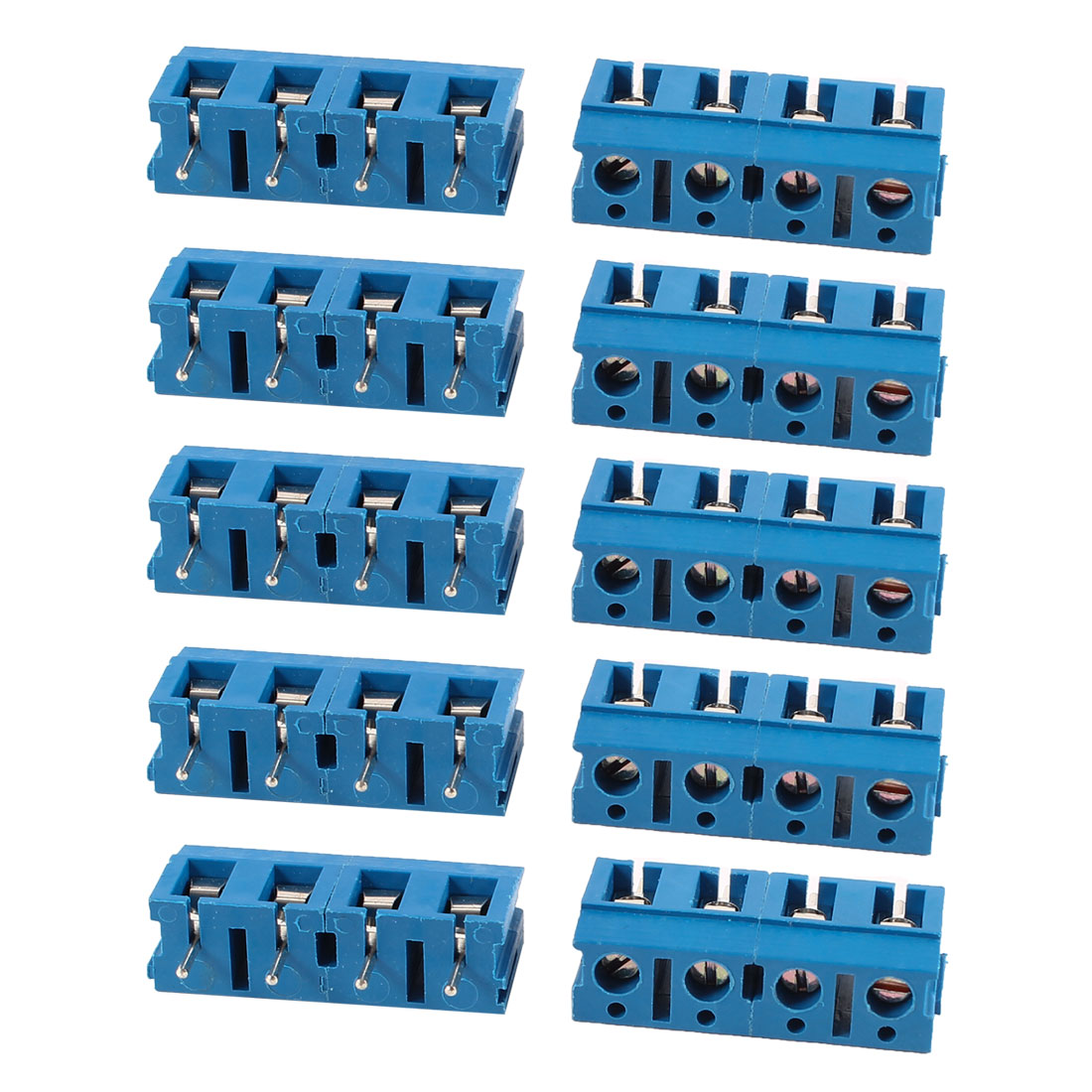 10 Pcs Blue KF370-4P 4 Position 7.5mm Pitch PCB Mount Screw Terminal Block Connectors 300V 16A