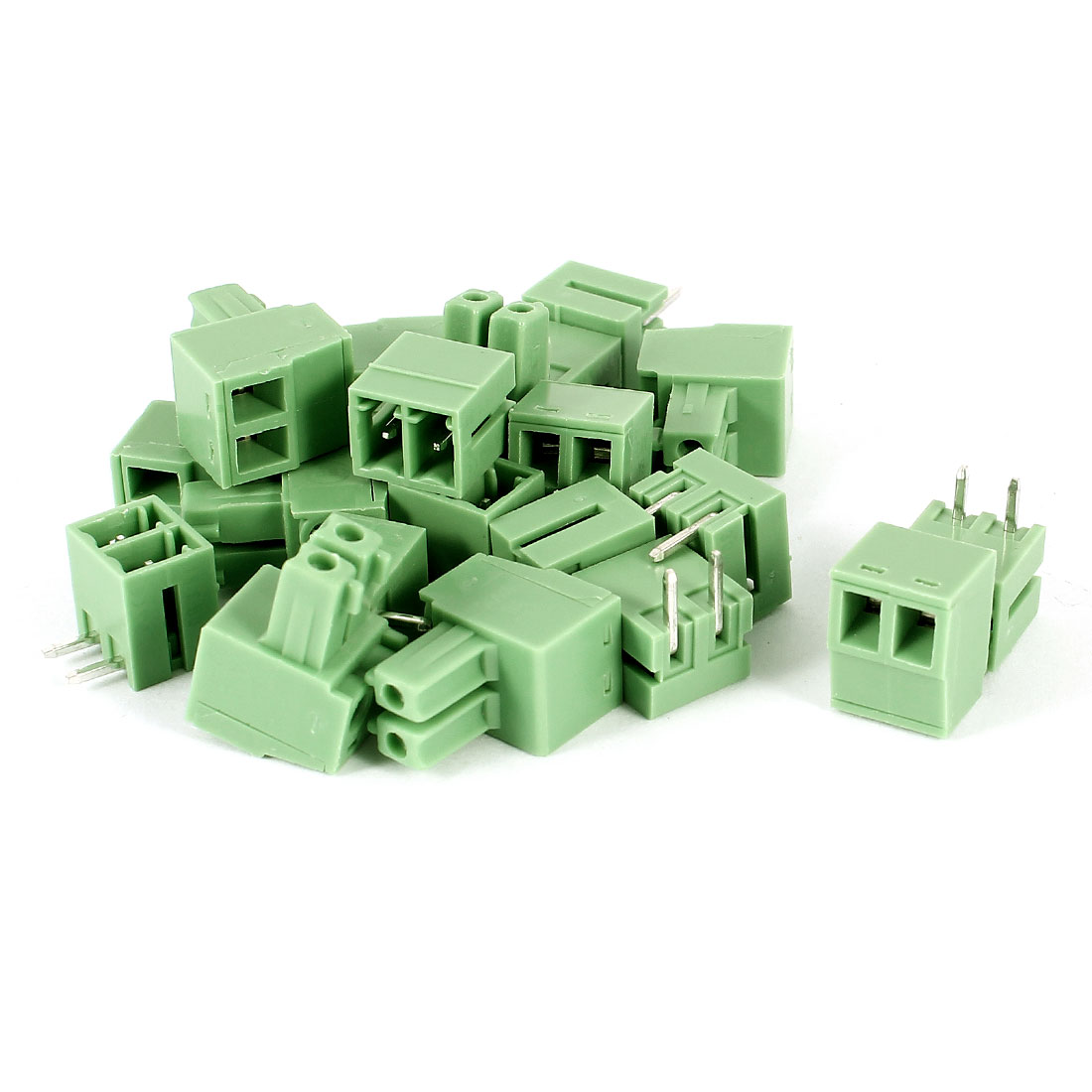 10 Pcs Green KF2EDG 3.81mm 2Position Right Angle 2Pin Pluggable Screw Terminal Block Connector 300V 8A