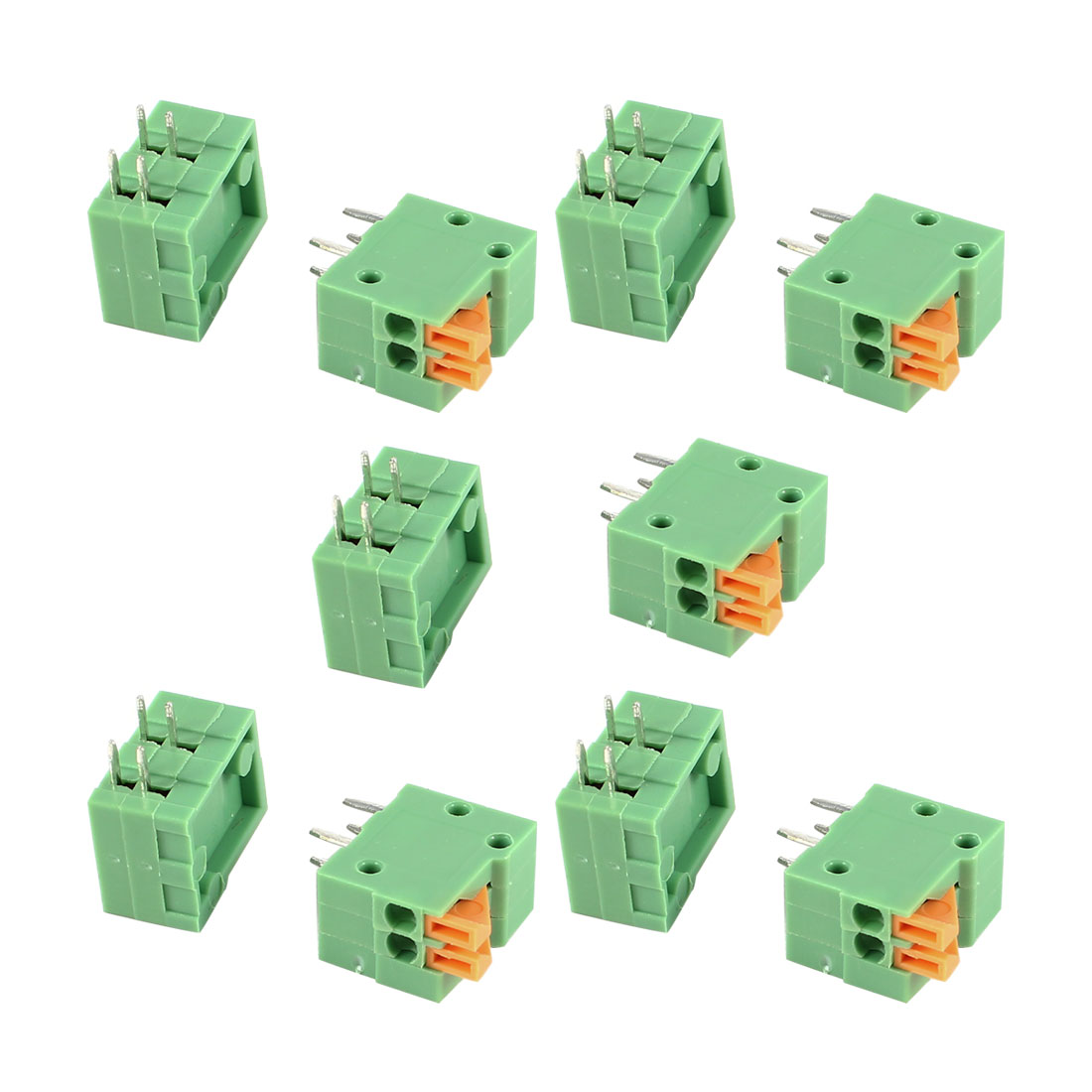 10 Pcs Green KF141R 2Position 2.54mm Pitch 4Pin Spring Terminal Blocks Connectors 300V 10A