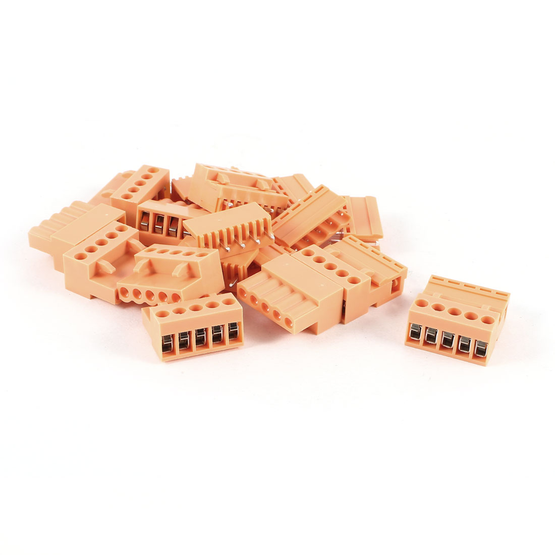 10 Pcs 5Pin 3.96mm Spacing PCB Screw Terminal Block Connector 300V 10A AWG14-26 Orange