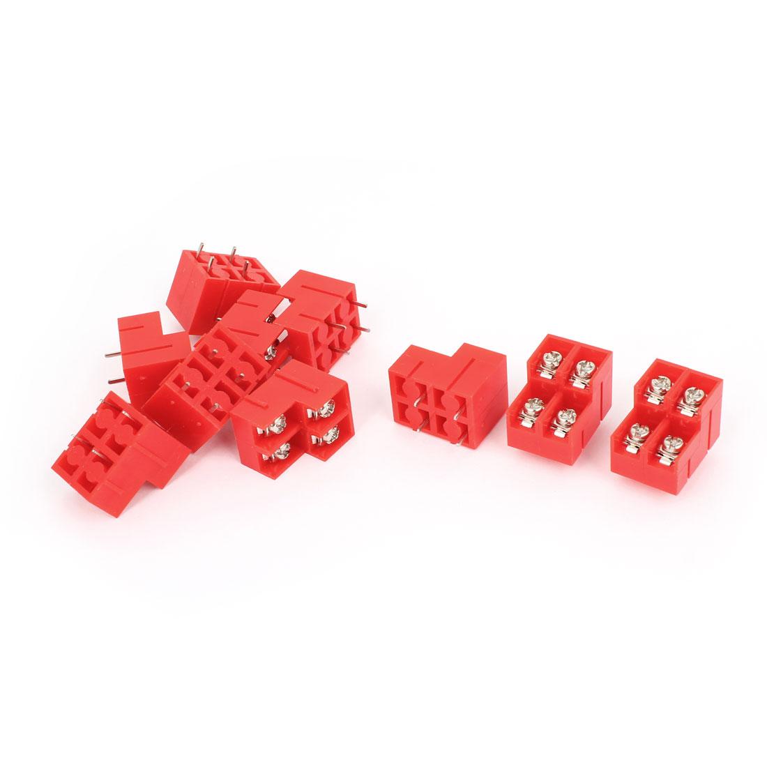 10pcs Red 4 Pin 8.5mm Spacing Pluggable PCB Screw Terminal Block AC 250V 10A