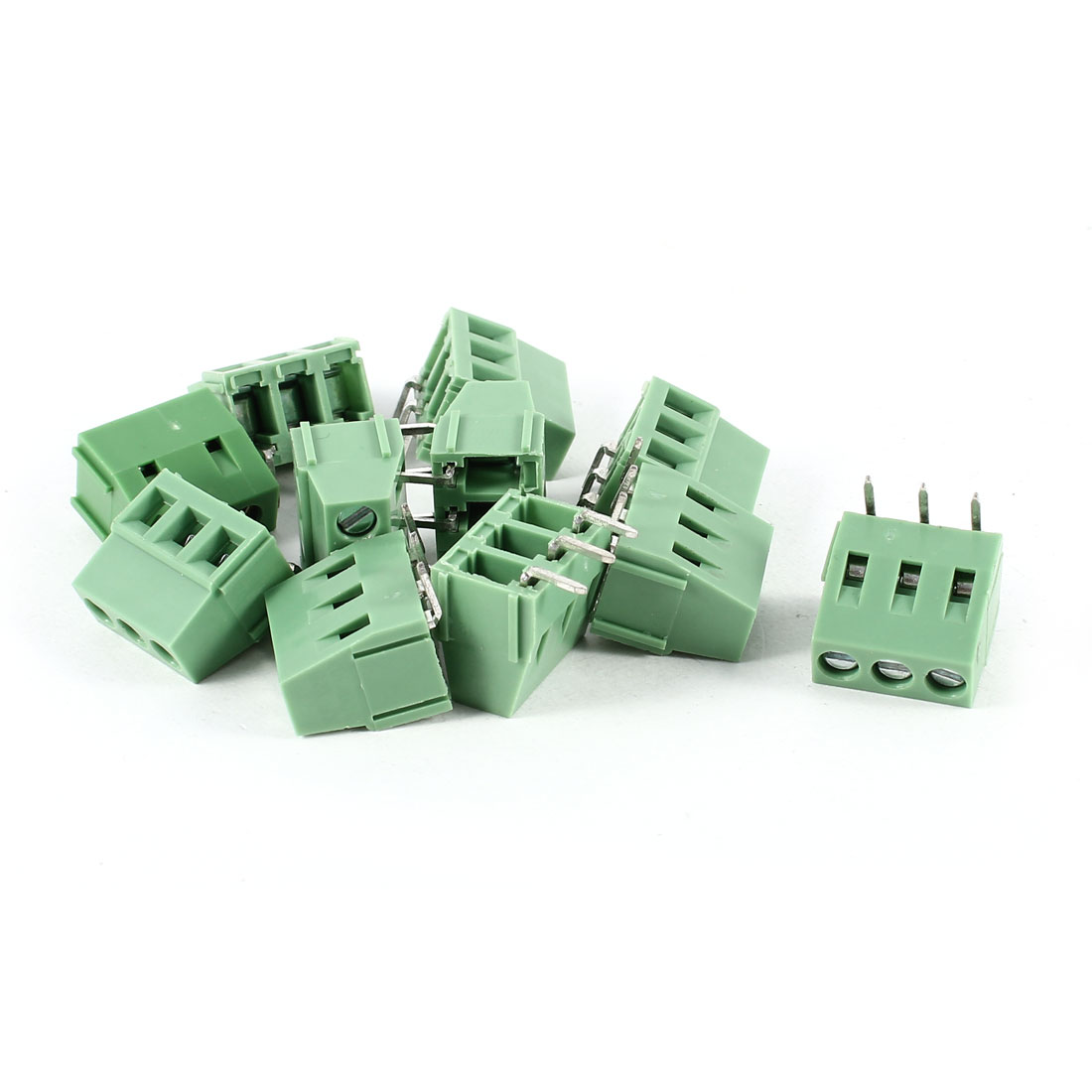10 Pcs Green 3P 3Pins Right Angle 5mm PCB Wire Plug-in Screw Terminal Block Connectors 300V 10A KF128R