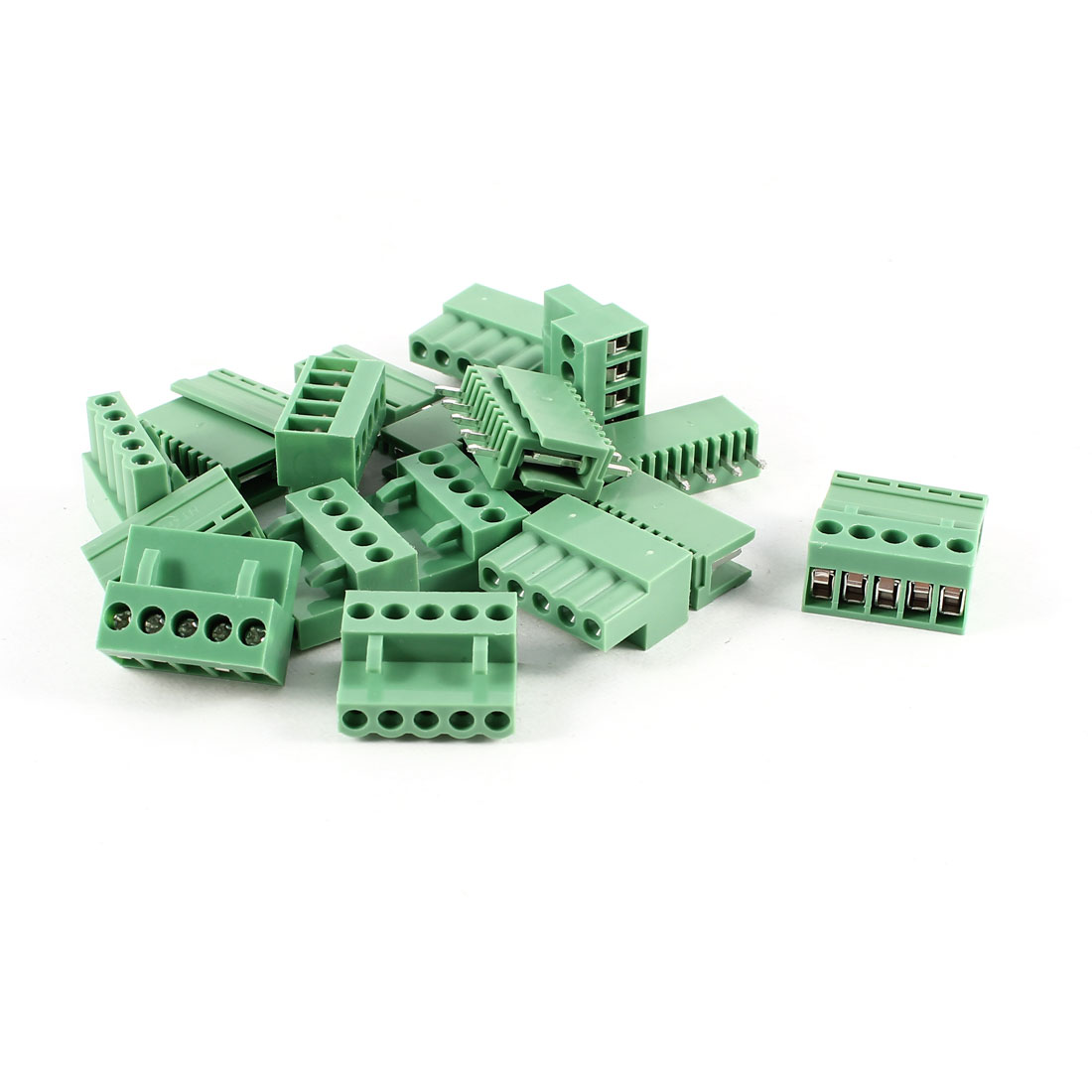 10 Pcs Green HT3.96 HT396K 5 Position 3.96mm Screw Pluggable Terminal Block Connector 300V 10A