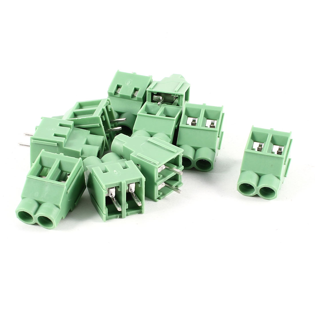 10 Pcs 2P 6.35mm Spacing PCB Screw Terminal Block Connector 300V 30A AWG22-10