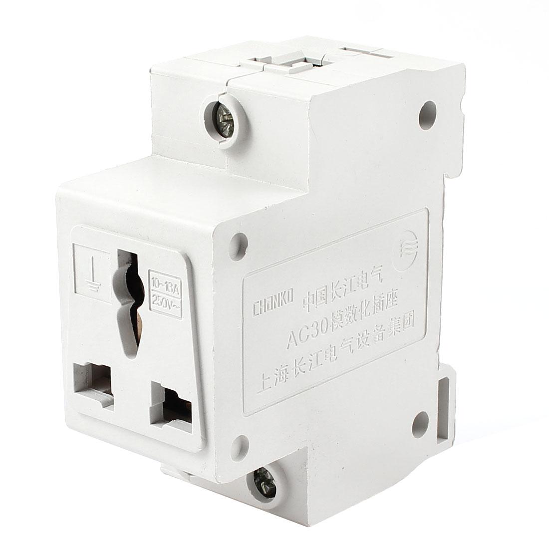 AU EU UK US Plug AC 250V 10-16 Amp 35mm DIN Rail Electrical Digit Modular Socket