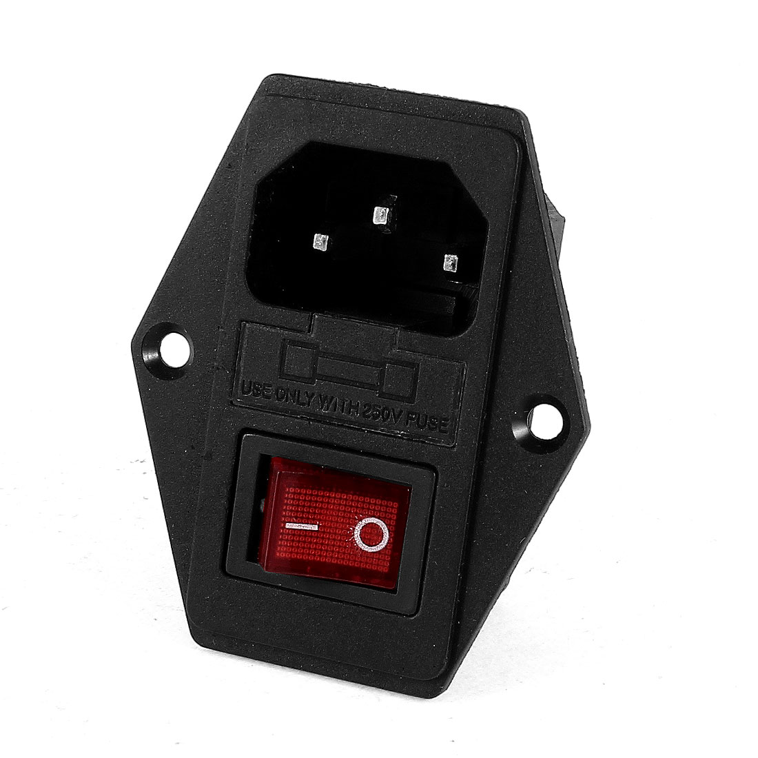 Indicator KCD1-104N DPST ON/OFF Rocker Switch 250V 10A w Fuse Holder w IEC320 C14 Power Inlet