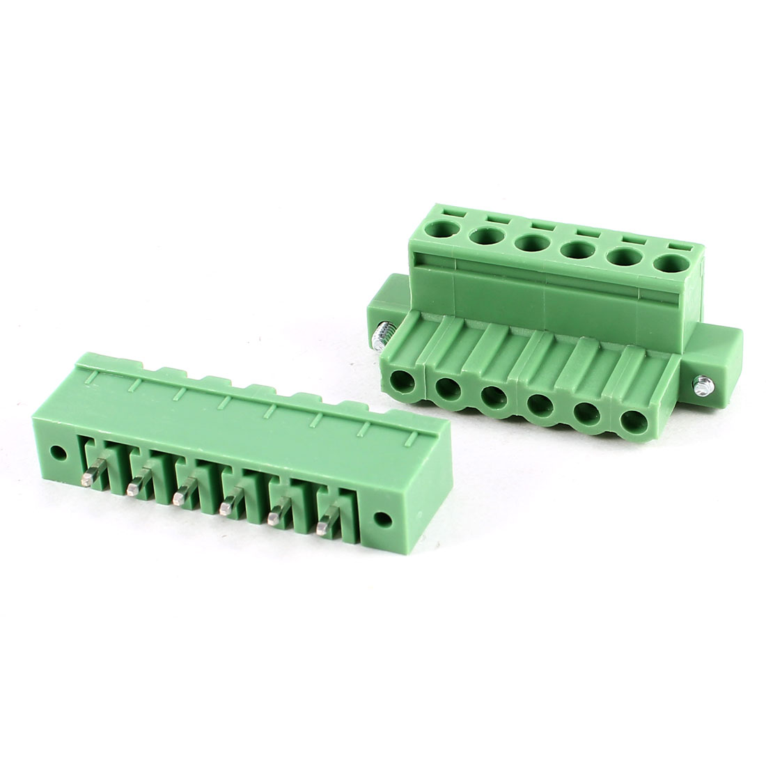 Green 6Pin 5.08mm Spacing PCB Screw Terminal Block Connector 300V 10A AWG24-12
