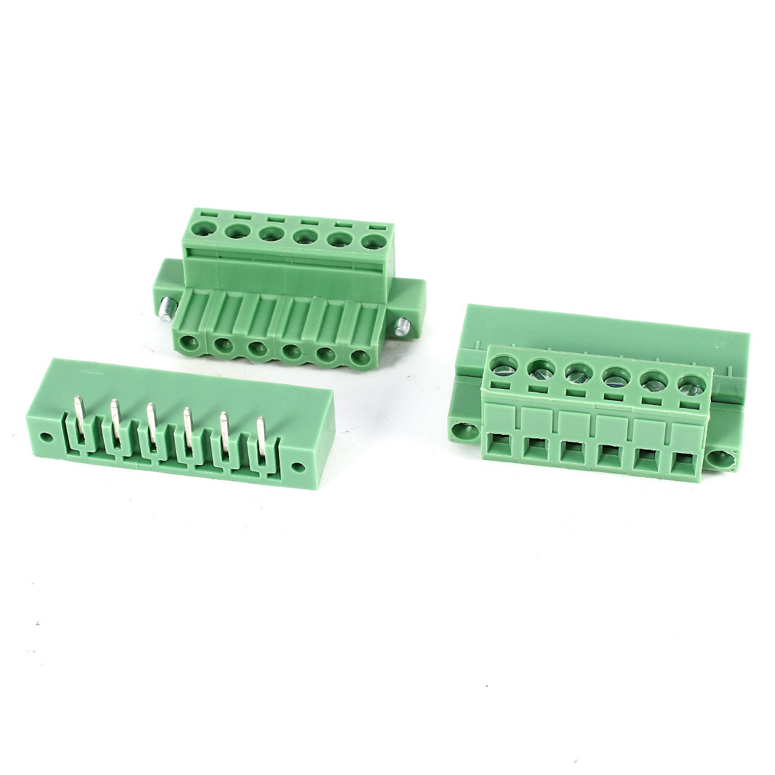 2 Pcs Green KF2EDGK 5.08mm 6Position Right Angle 6Pin Pluggable Screw Terminal Block Connector 300V 10A